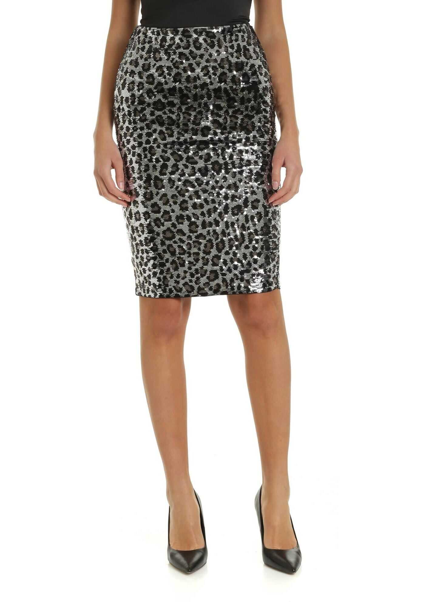 Michael Kors Animal Print Sequined Skirt Animal print