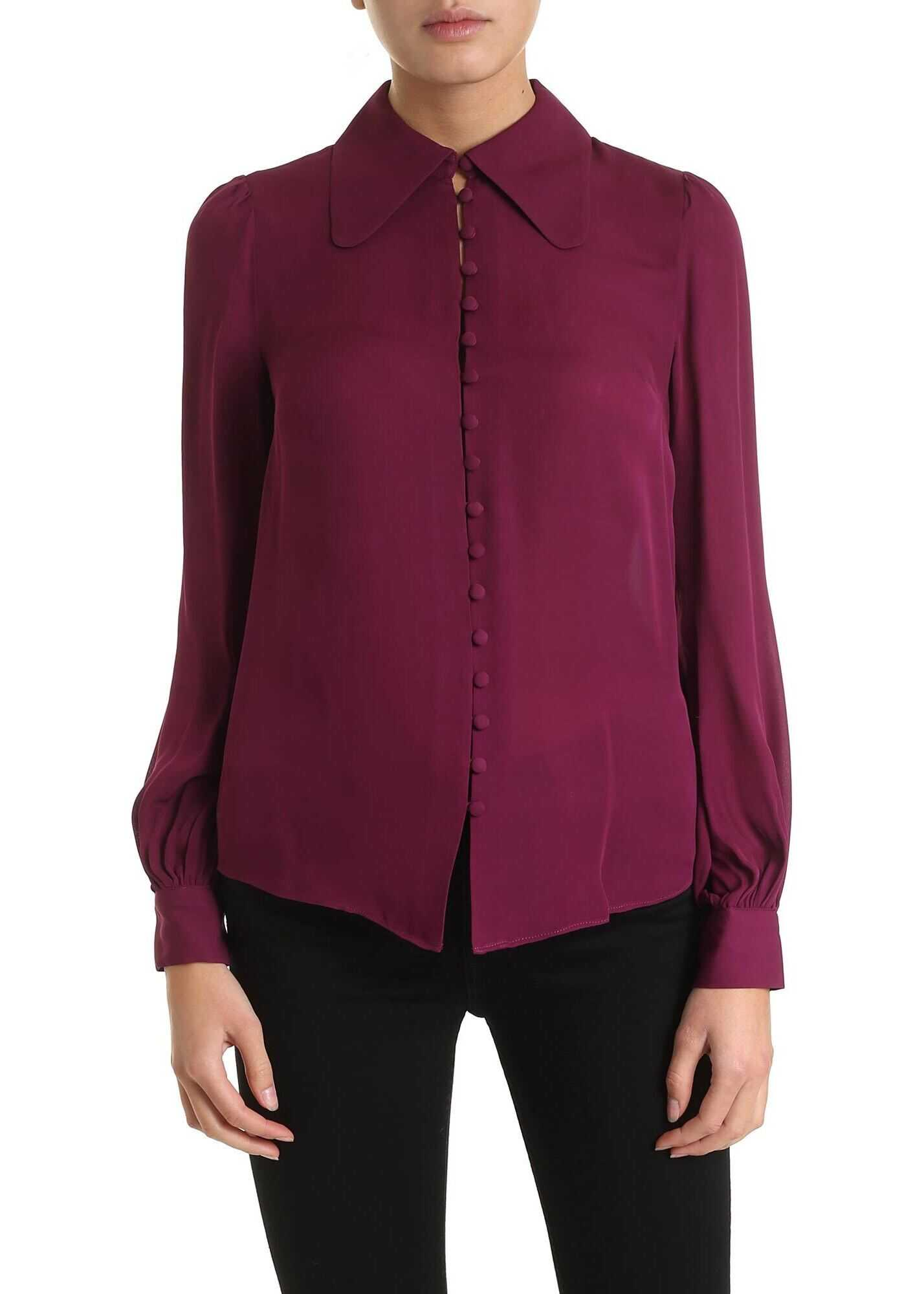 Loose Fit Shirt In Purple Color Silk thumbnail