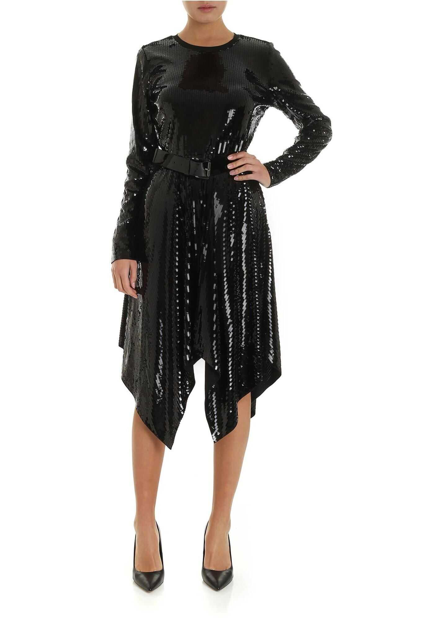 Flared Dress In Black Sequins thumbnail