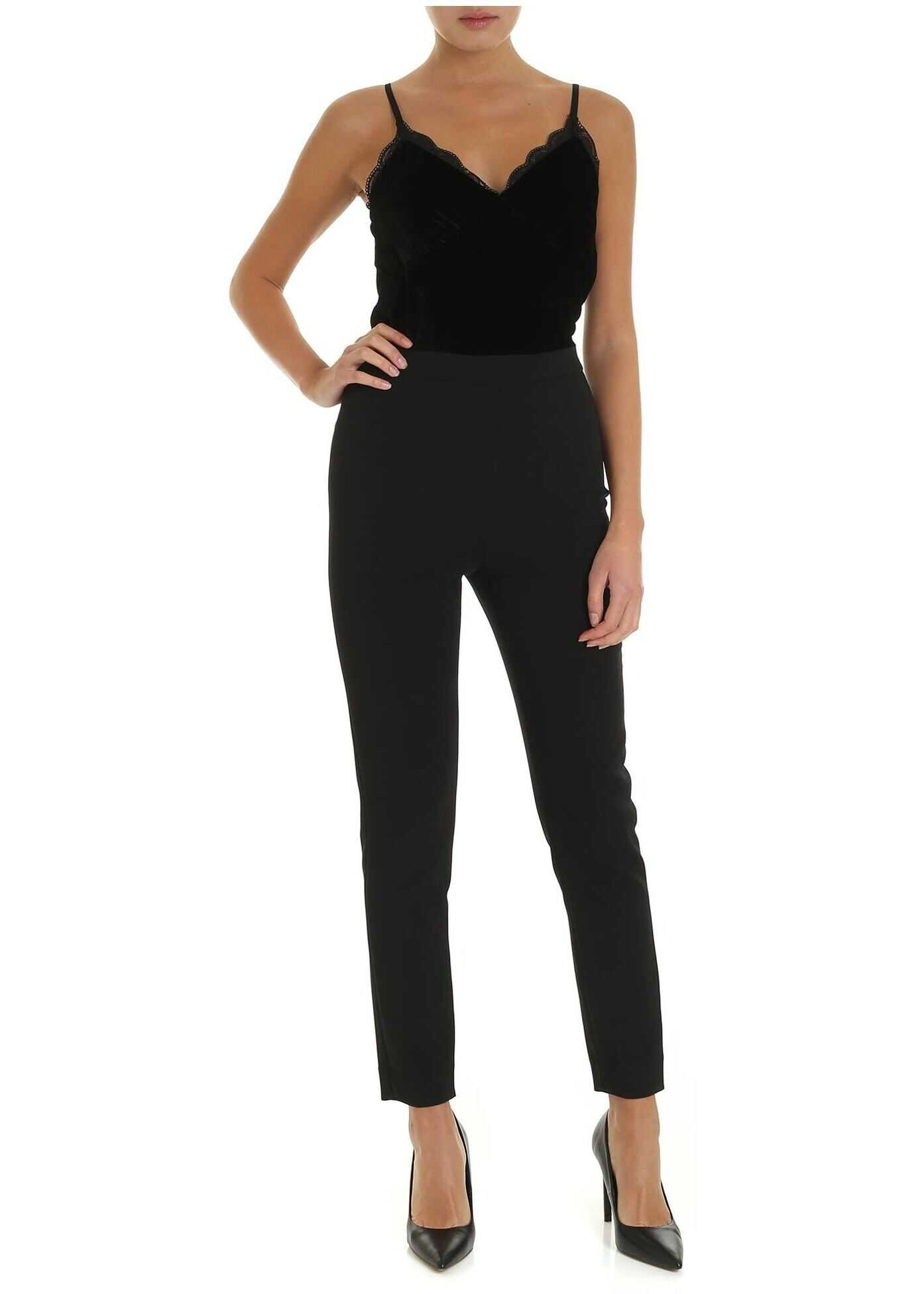 Michael Kors Black Jumpsuit With Chenille Top Black