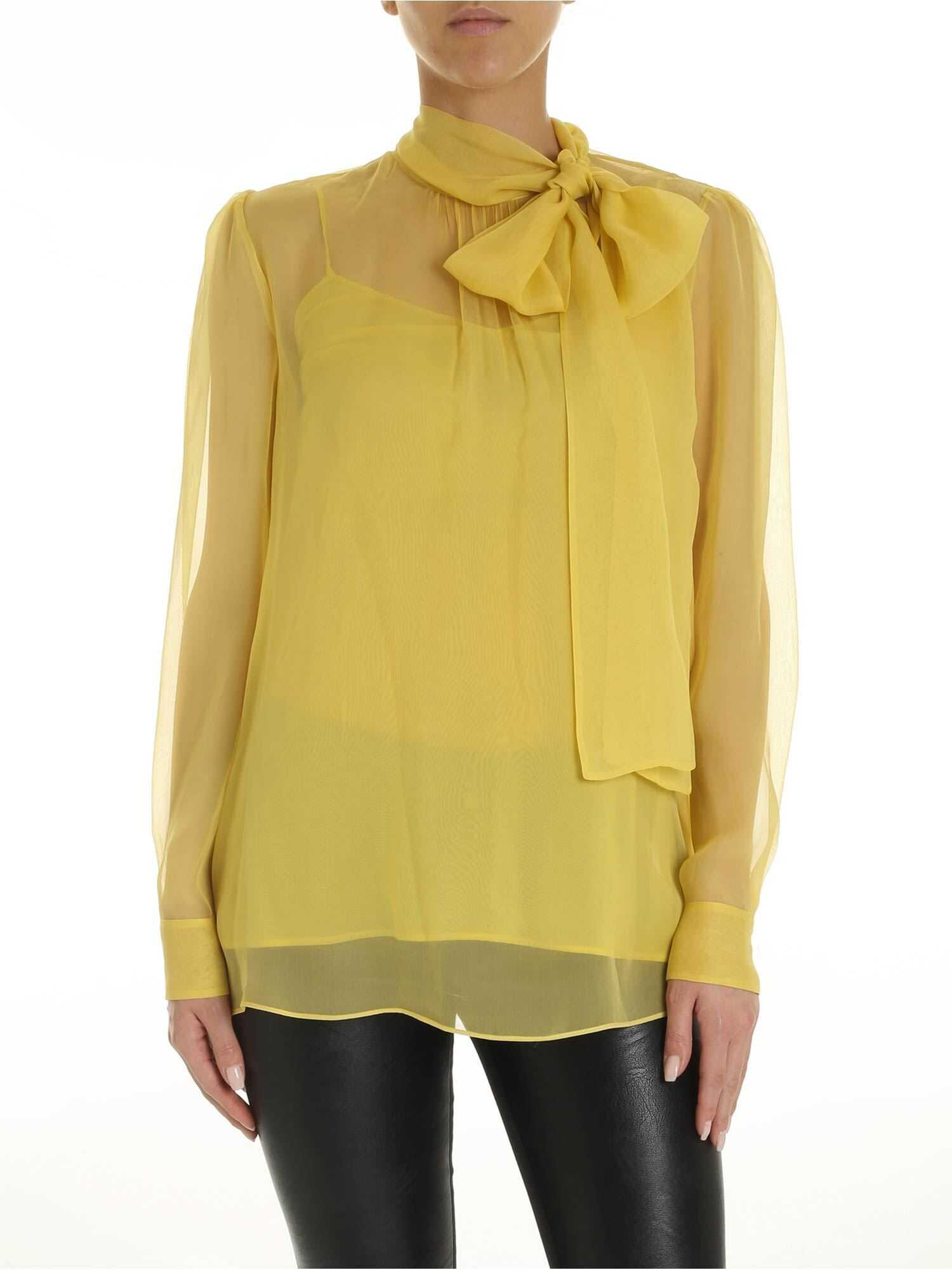 Bow Chiffon Shirt In Yellow thumbnail