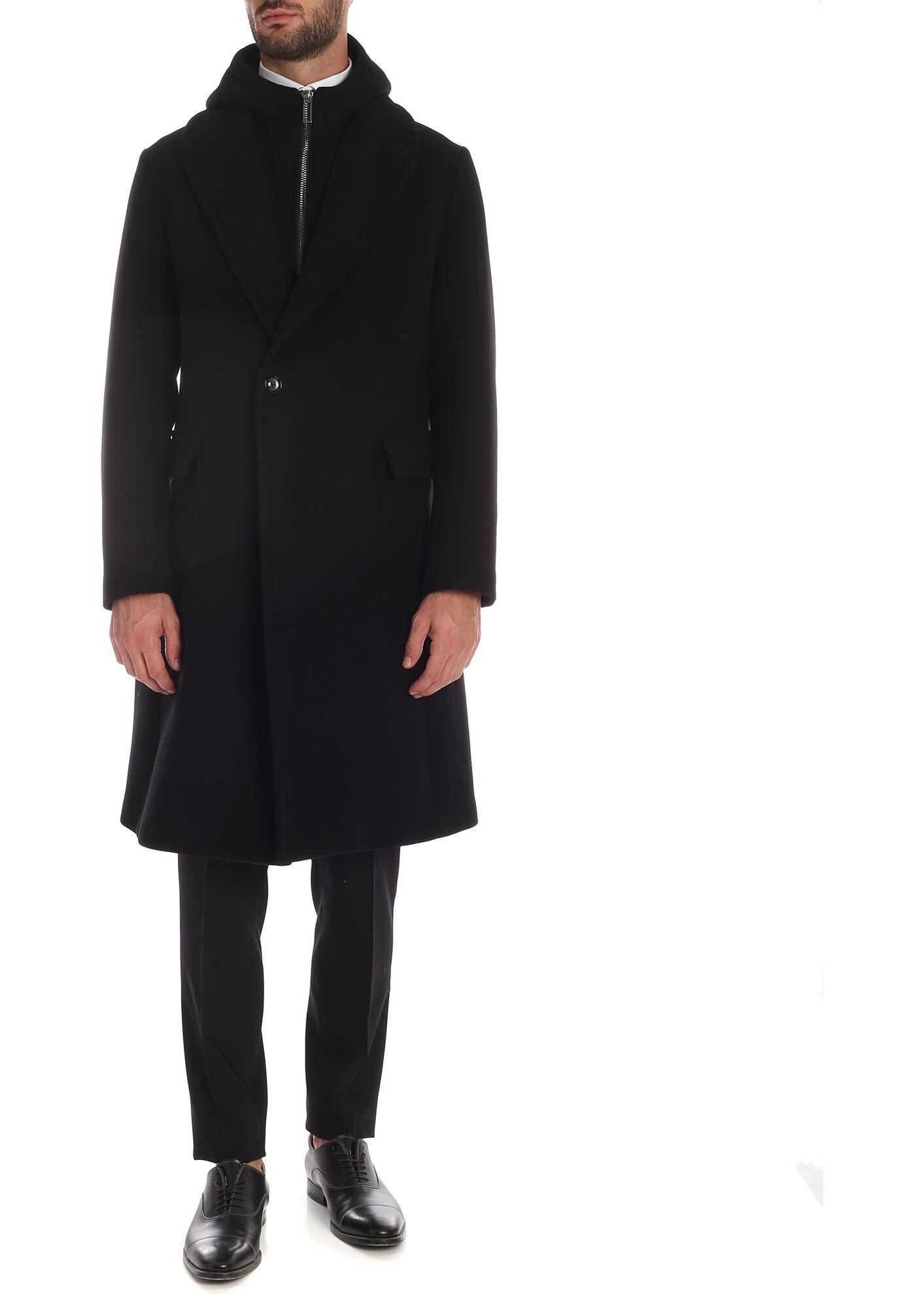 Emporio Armani Black Hooded Coat Black