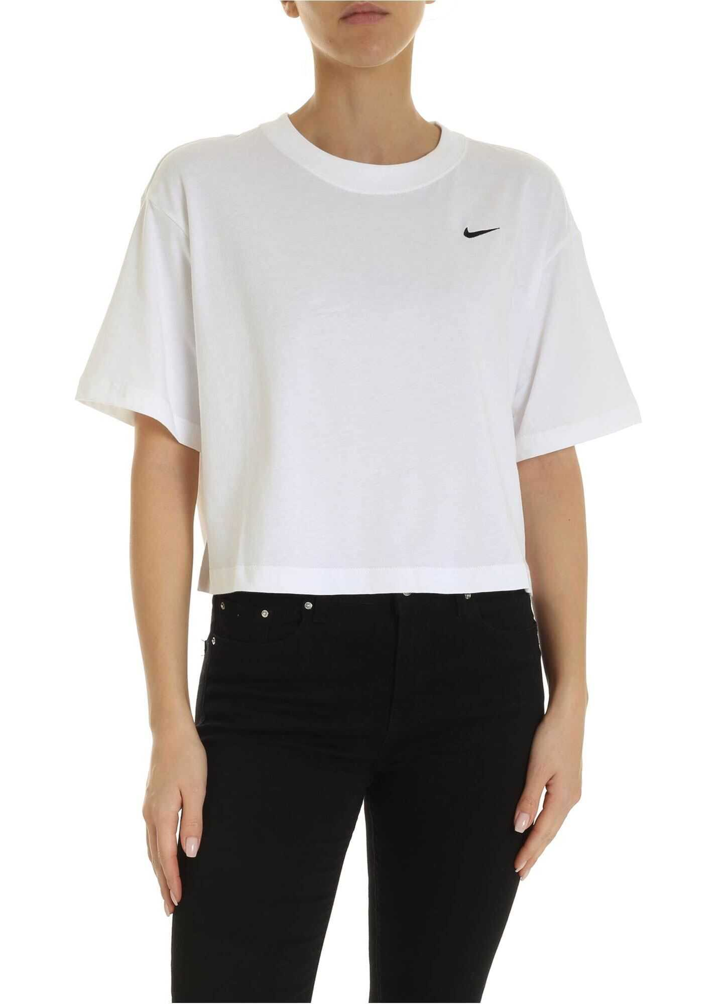 Nike Crop T-Shirt In White With Logo White