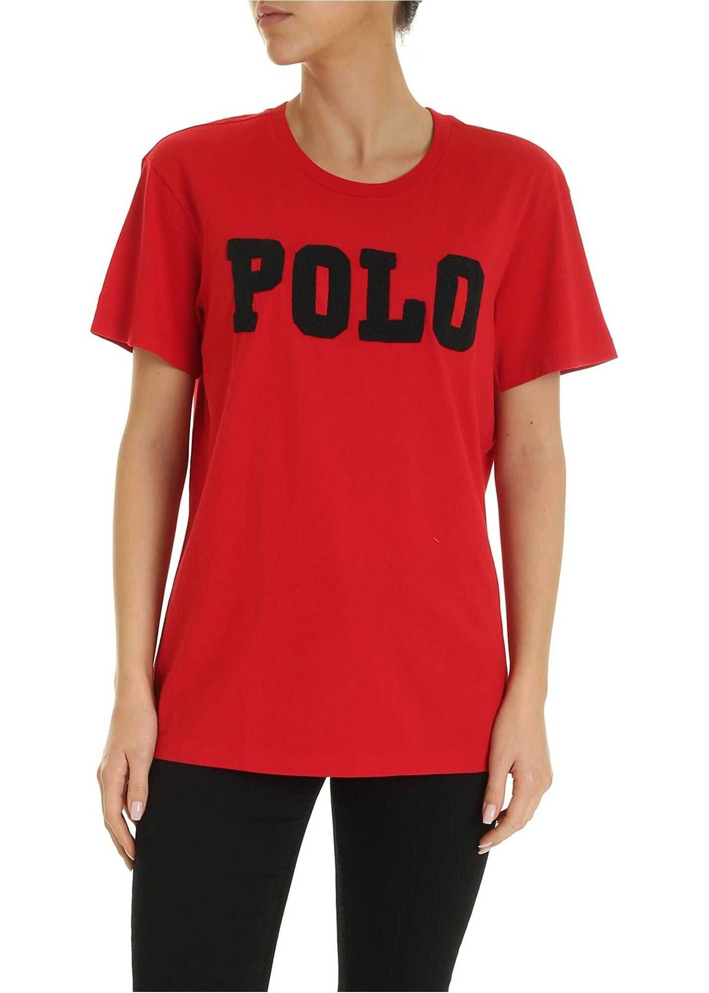 Maxi Beads Logo T-Shirt In Red