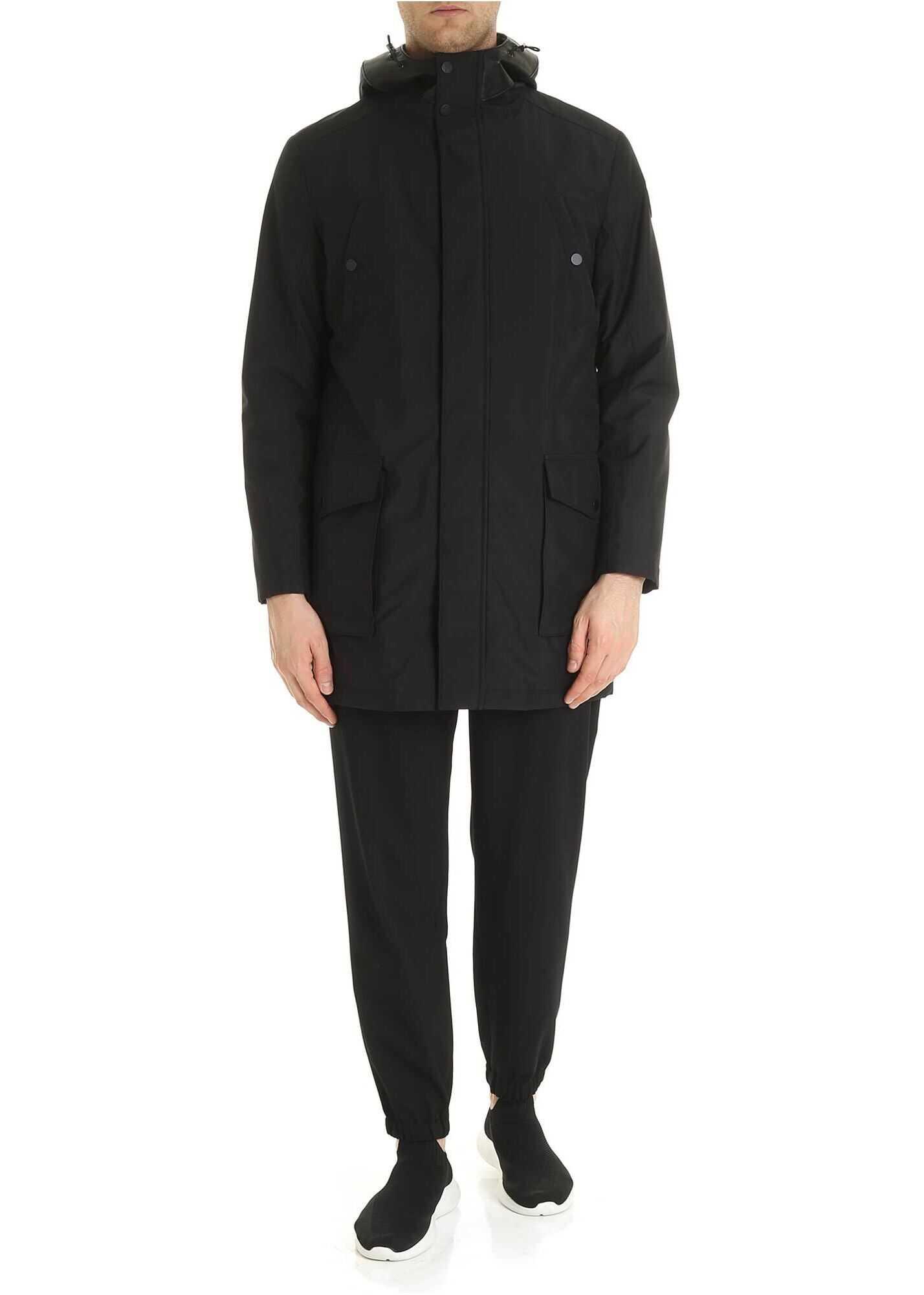 Karl Lagerfeld Leather Inserts Coat In Black Black imagine