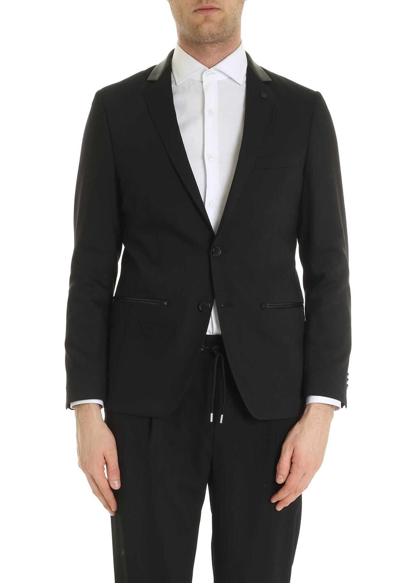 Karl Lagerfeld Dark Black Jacket With Leather Insert Black imagine