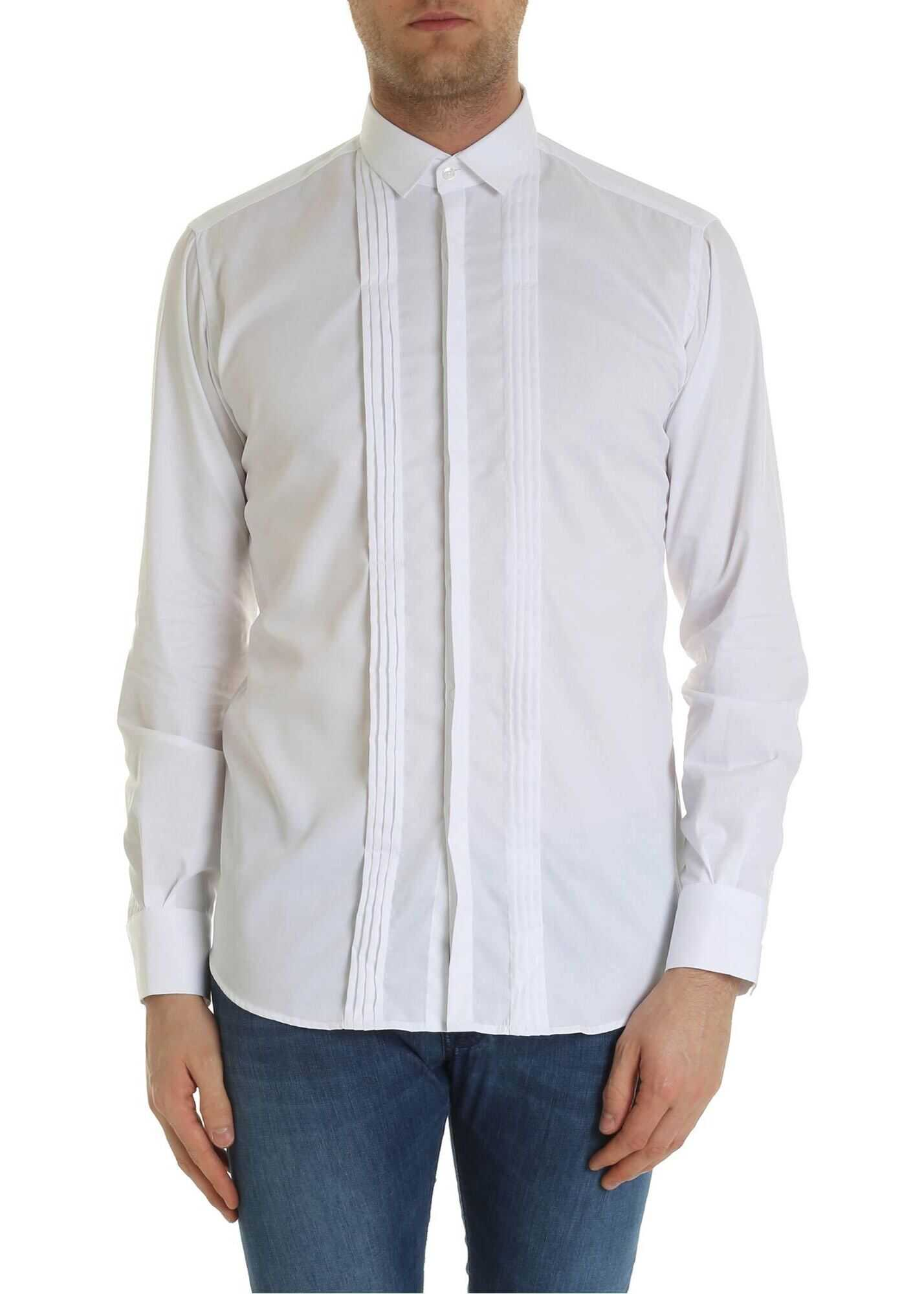 Pleated Shirt In White thumbnail