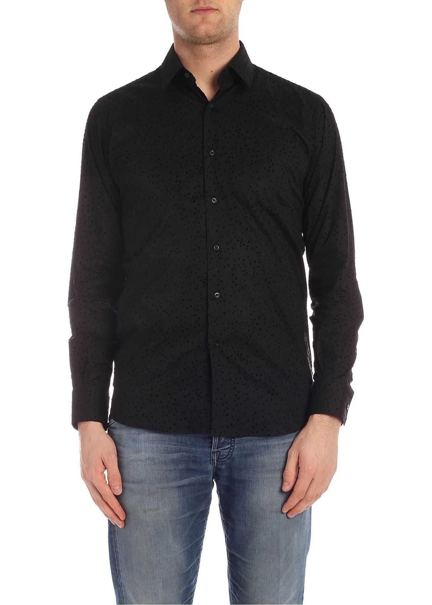 Flock Polka Dot Shirt In Black thumbnail