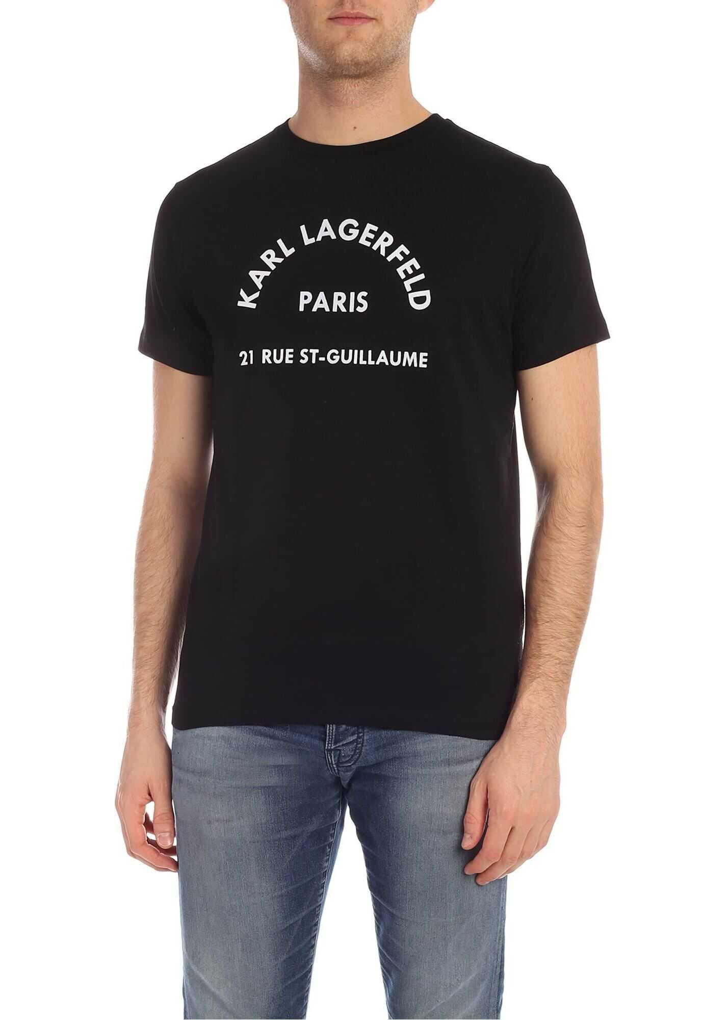 Karl Lagerfeld Address T-Shirt In Black Black