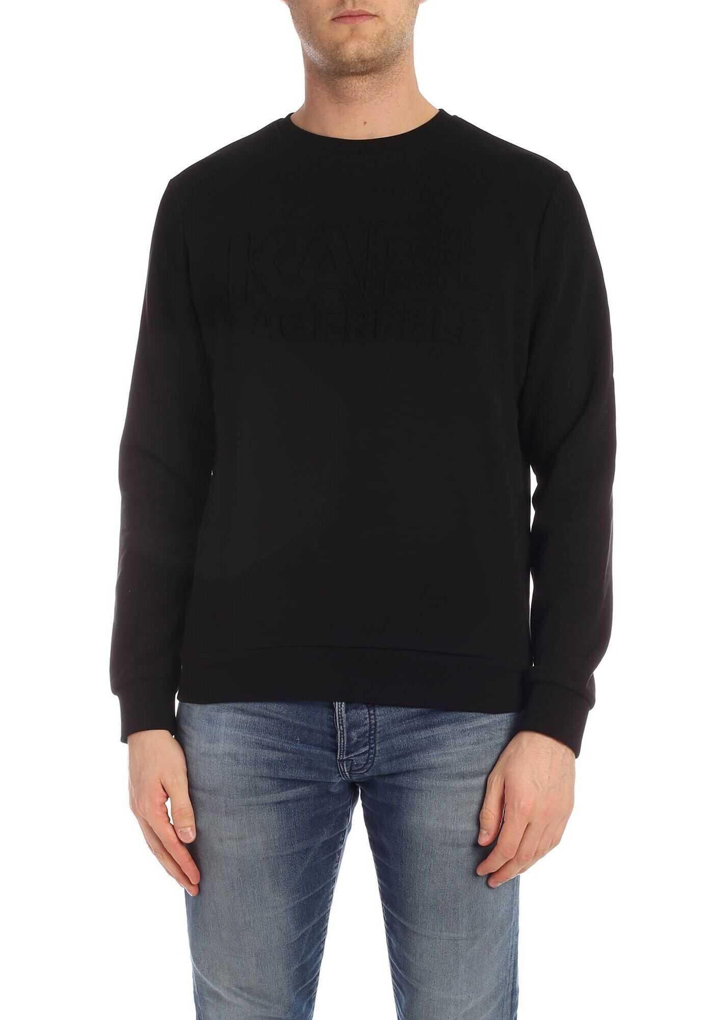 Karl Lagerfeld Black Sweatshirt With Embossed Logo Black