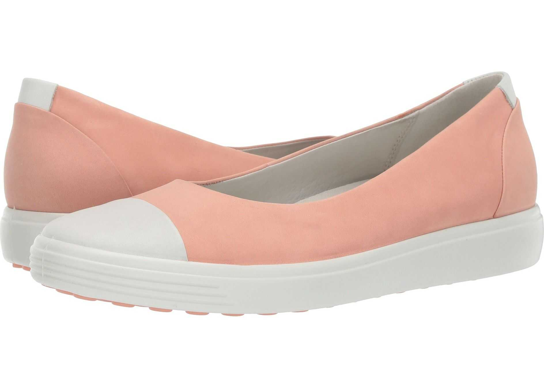 ECCO Soft 7 Ballerina White/Muted Clay Cow Leather/Cow Nubuck