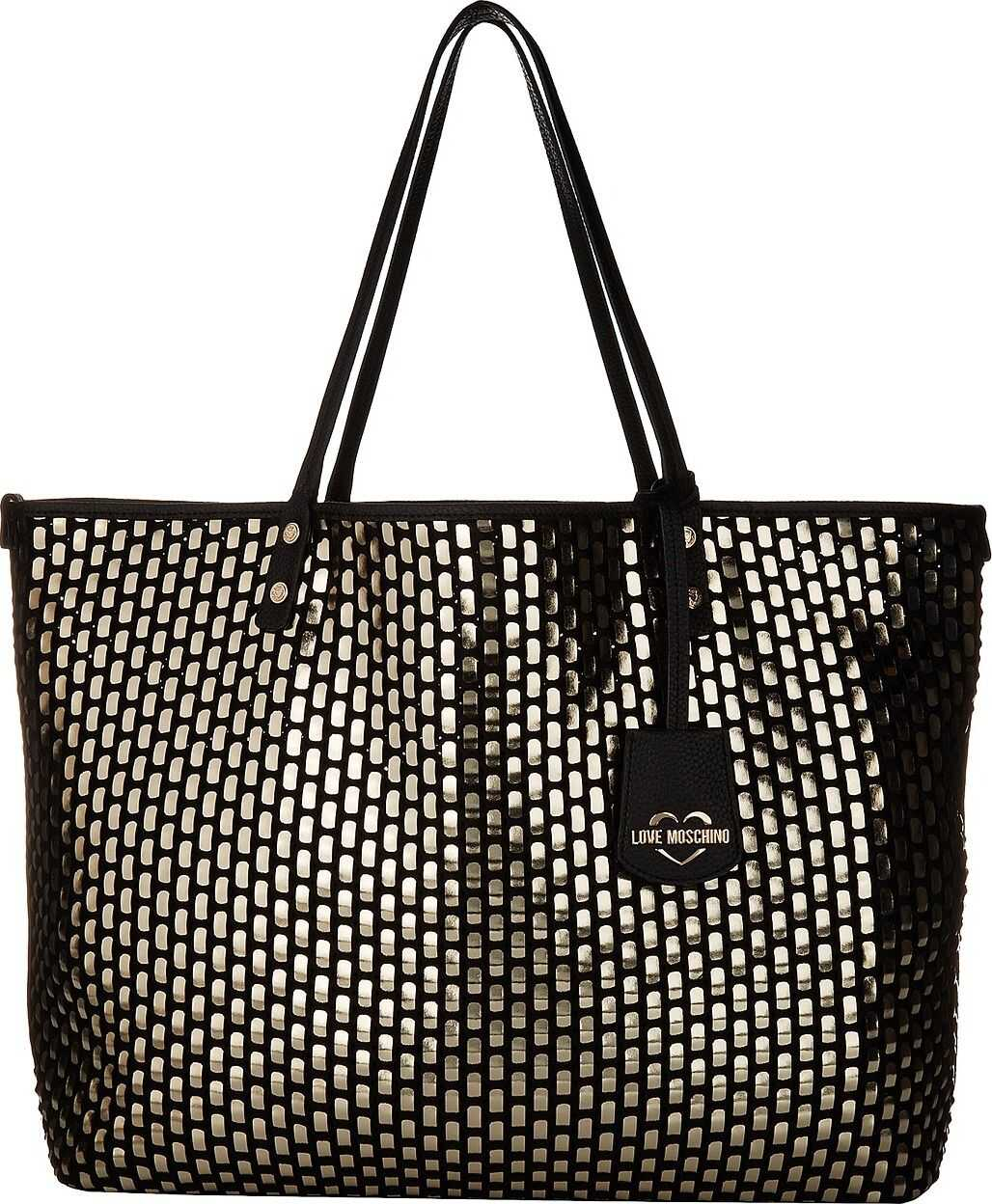 LOVE Moschino Large Woven Tote Gold/Black