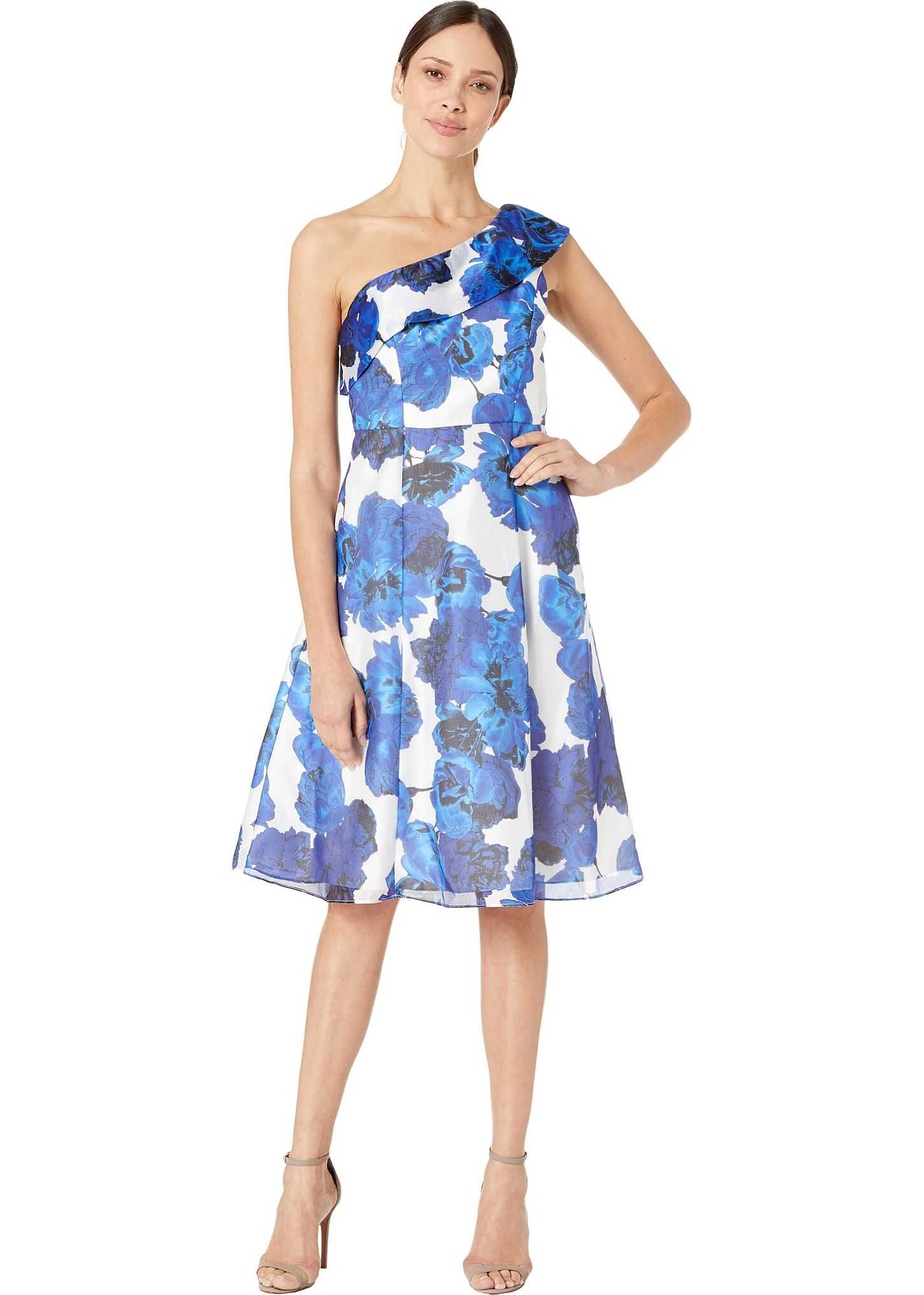 Adrianna Papell One Shoulder Fit and Flare Cocktail Dress Royal/Ivory