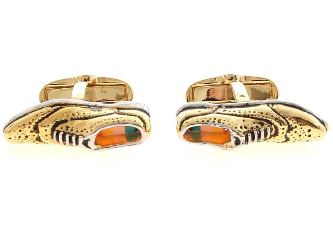 Paul Smith Brogue Cufflinks In Gold Gold