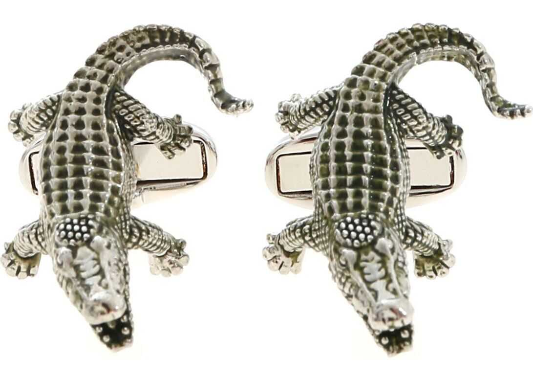 Paul Smith Crocodile Cufflinks In Silver And Green Silver