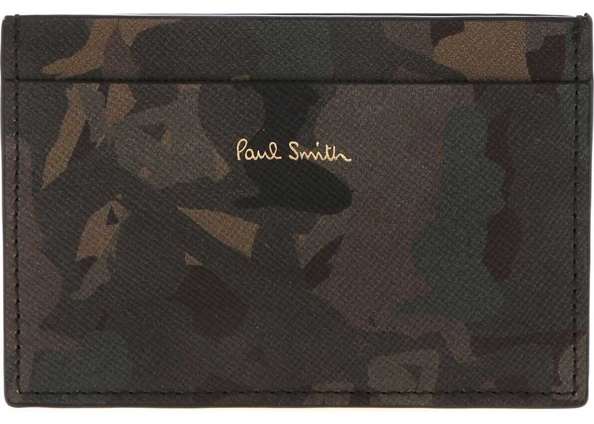 Paul Smith Naked Lady Camouflage Card Holder In Green Green