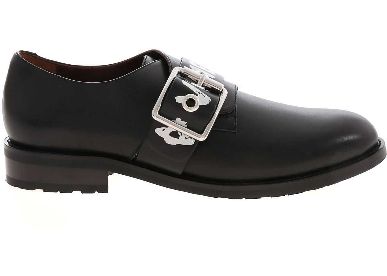 Graffiti Print Monk Strap Shoes In Black thumbnail