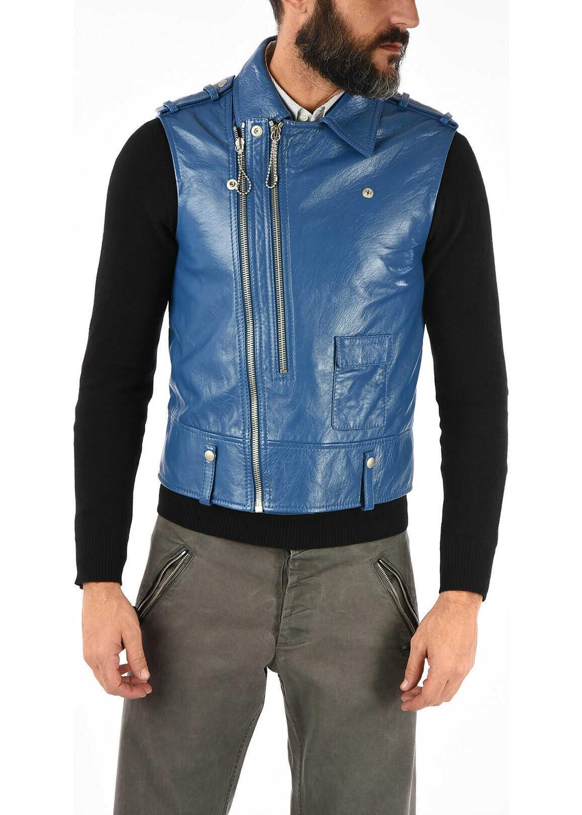 Maison Margiela MM10 Leather Vest BLUE