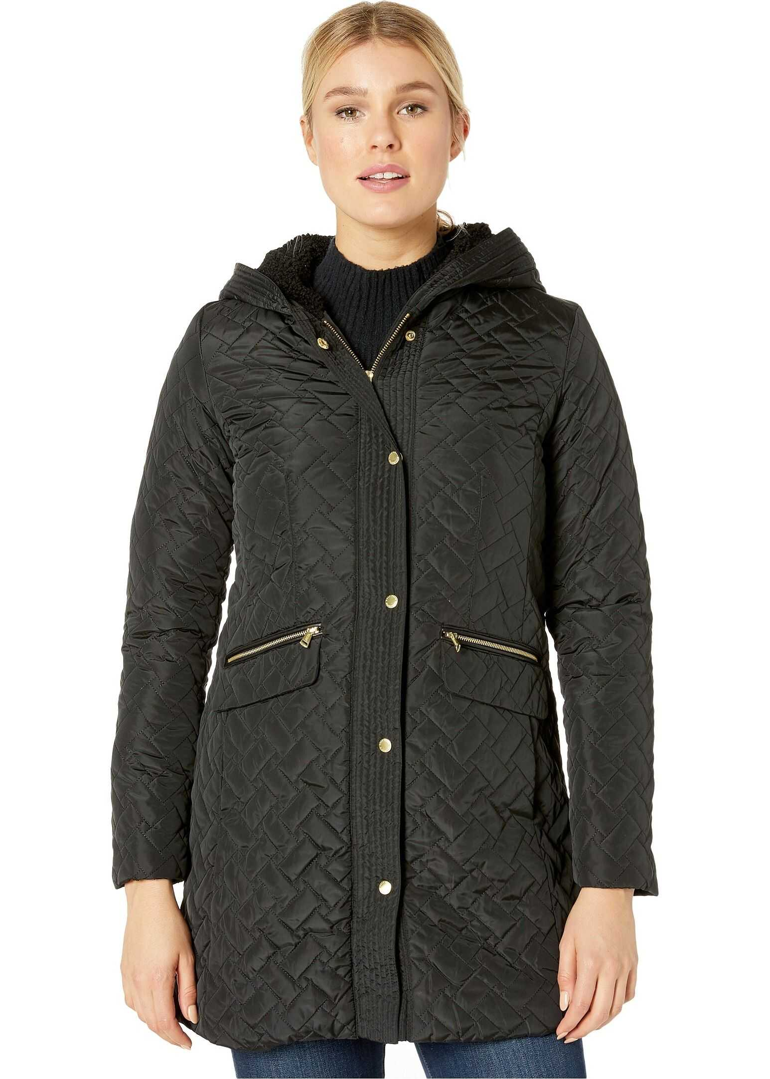 Cole Haan Quilted Faux Sherpa Lined Jacket Black