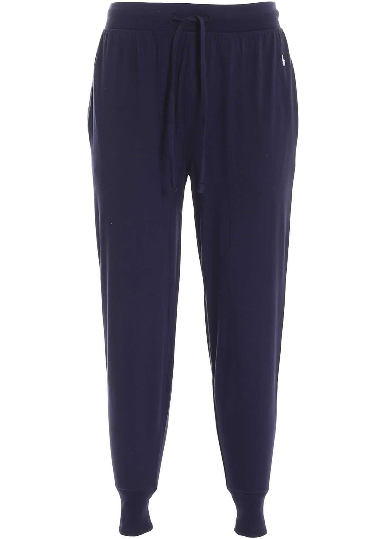 Ralph Lauren Logo Embroidery Trousers In Blue Blue imagine