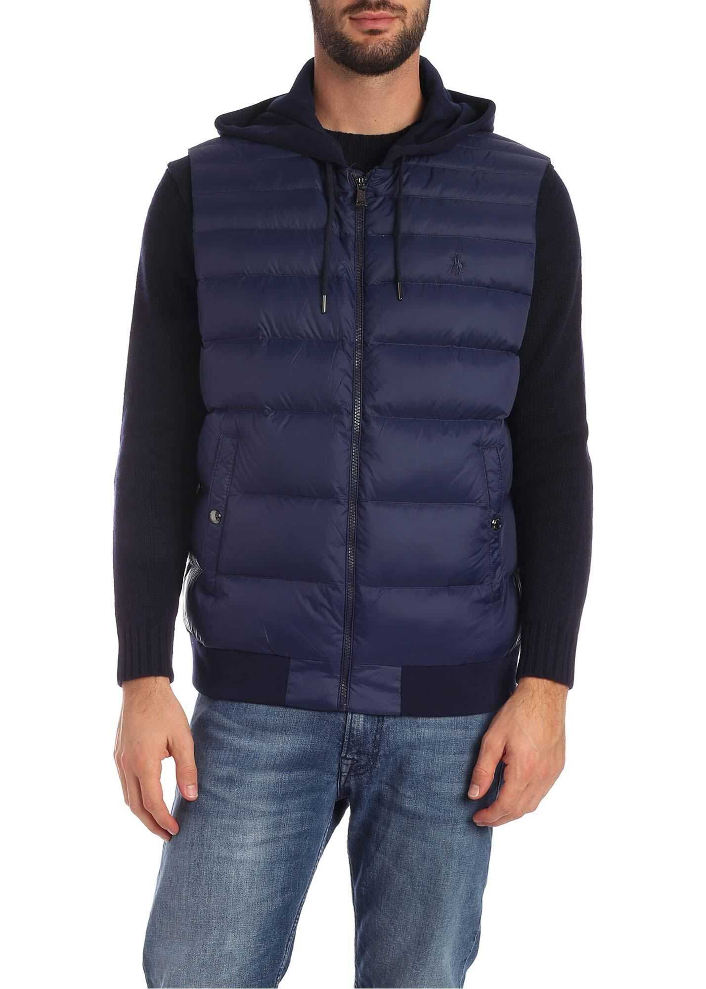 Ralph Lauren Down Waistcoat With Cotton Hood And Back Blue