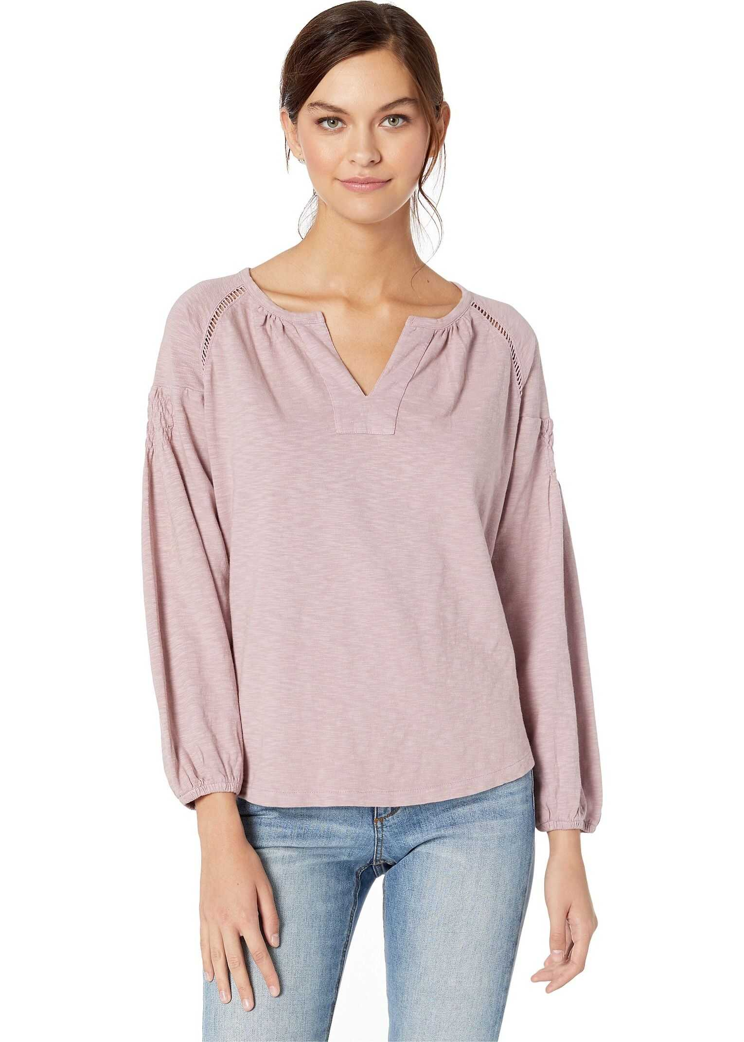 Frye Solid Smocking Long Sleeve Deauville Mauve