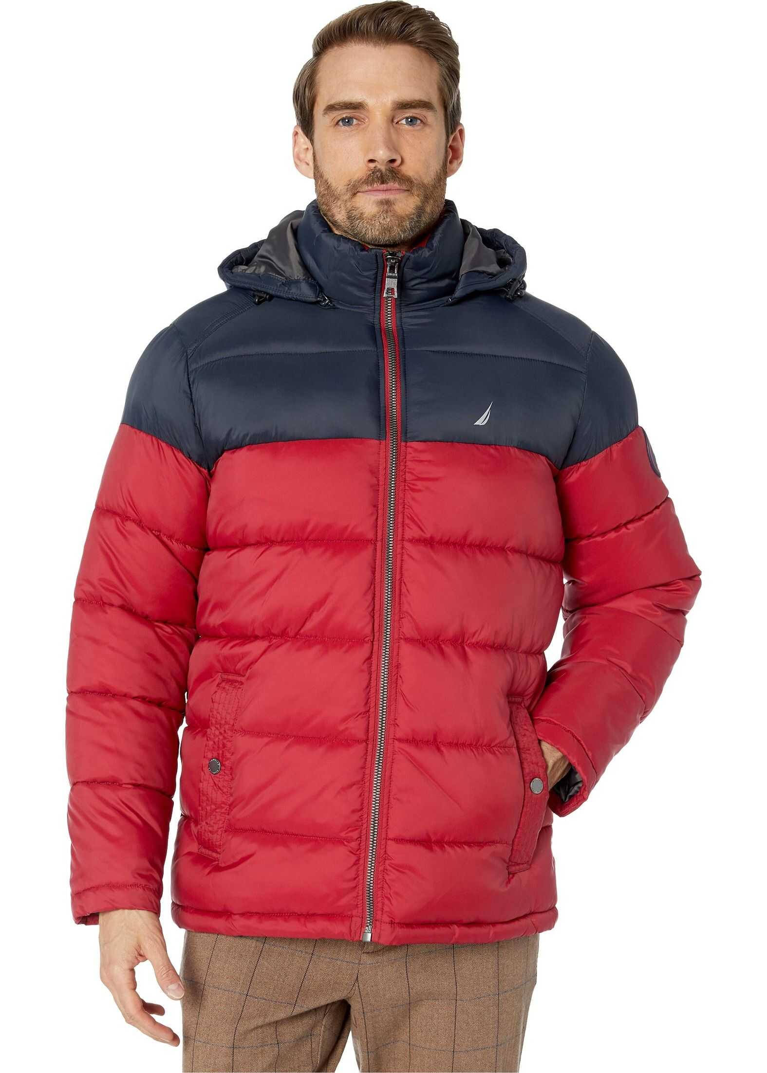 Nautica Logo Puffer w/ Removable Hood Red/Dark Navy