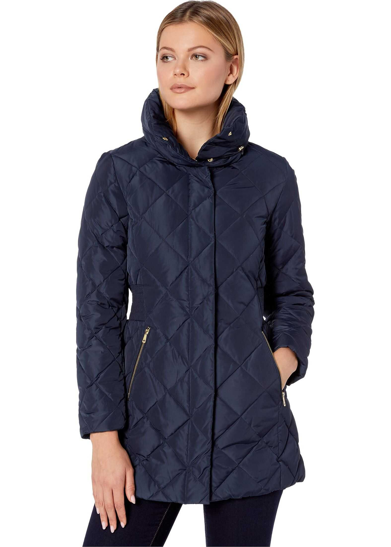 Cole Haan Diamond Quilted Down Jacket Navy