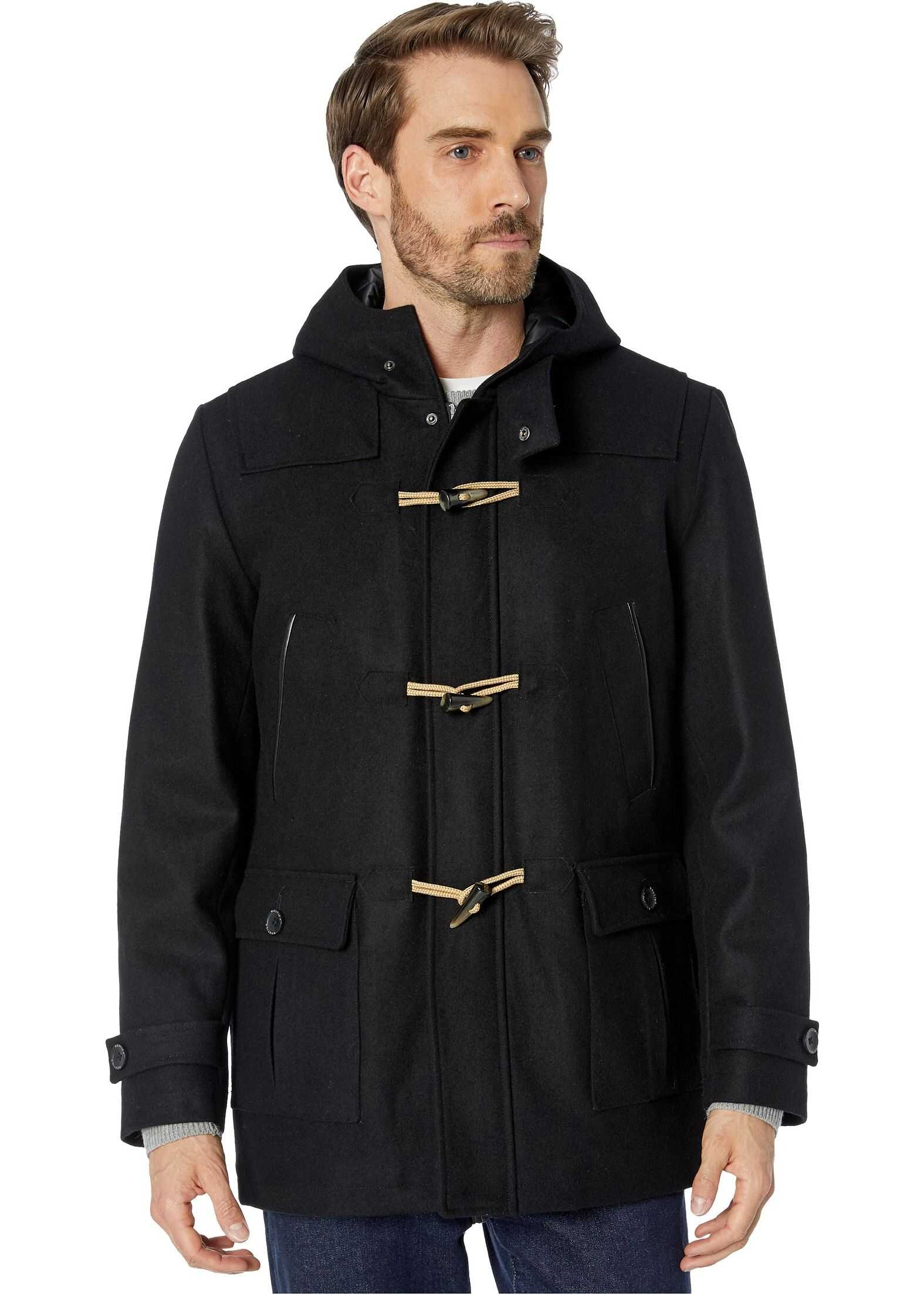 Nautica Hooded Wool Toggle Coat w/ Quilted Lining Black