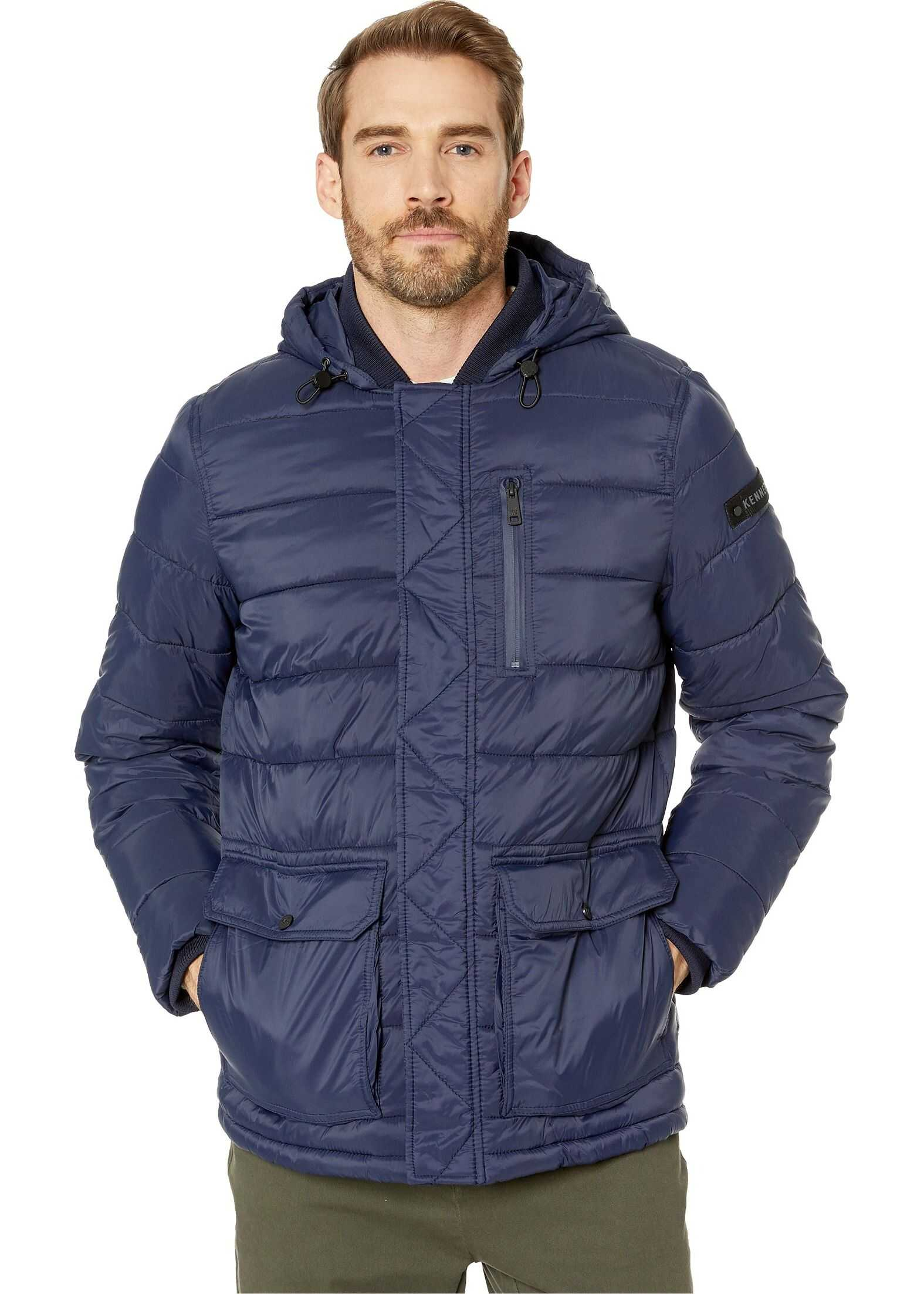 Kenneth Cole New York Hooded Puffer w/ Oversized Pockets Navy