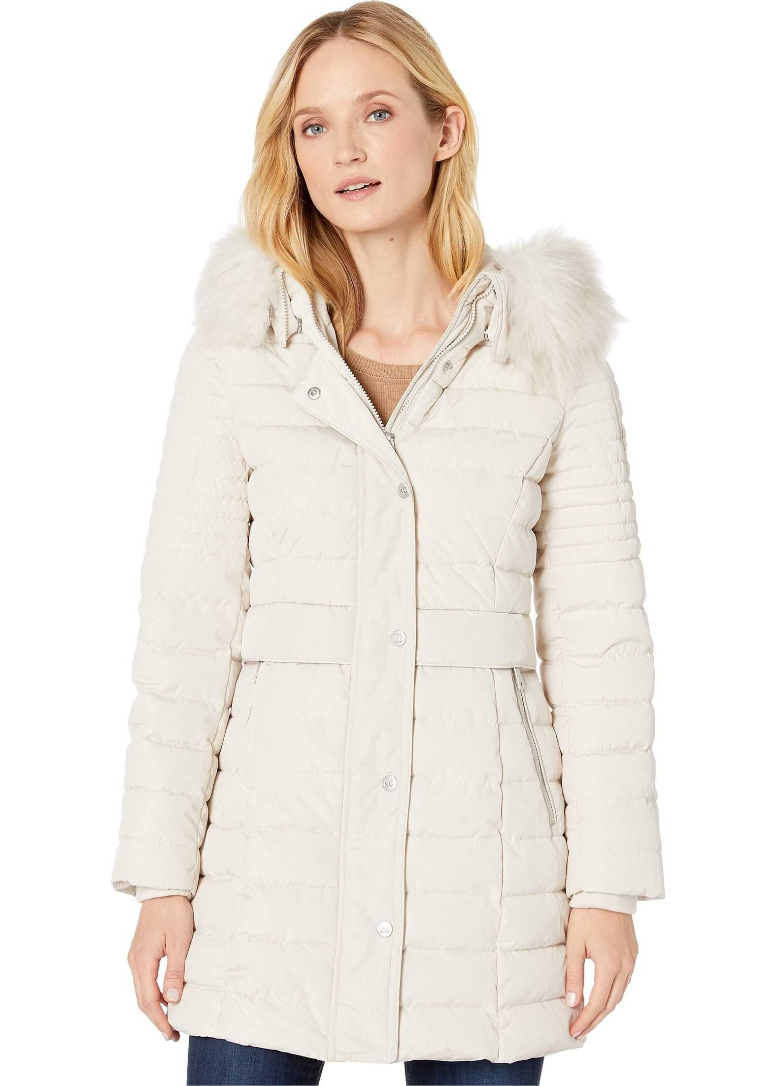 Kenneth Cole New York Quilted Puffer w/ Faux Fur Trim Frost