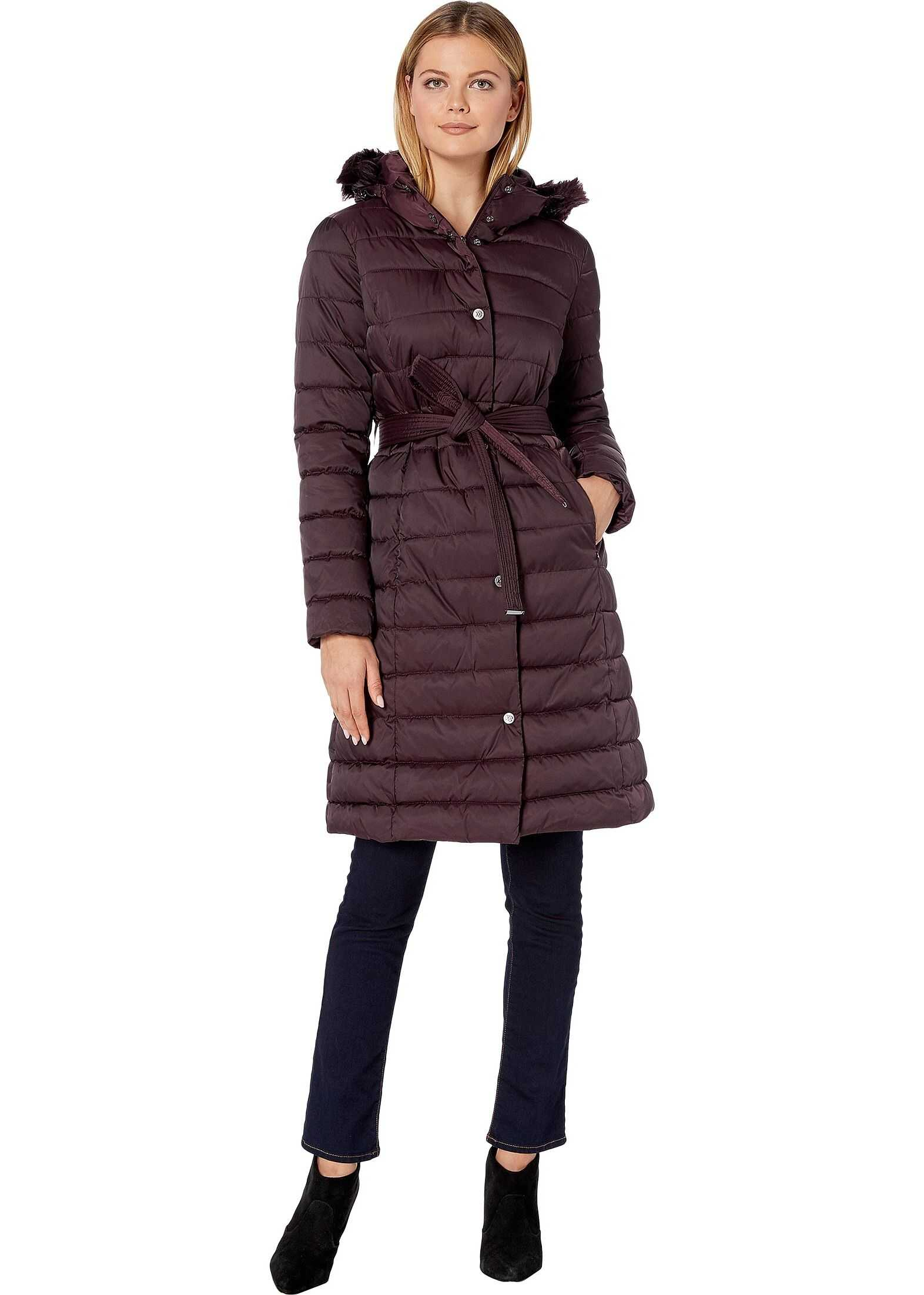 Kenneth Cole New York Matte Satin Belted Puffer w/ Faux Fur Trim Rum Raisin