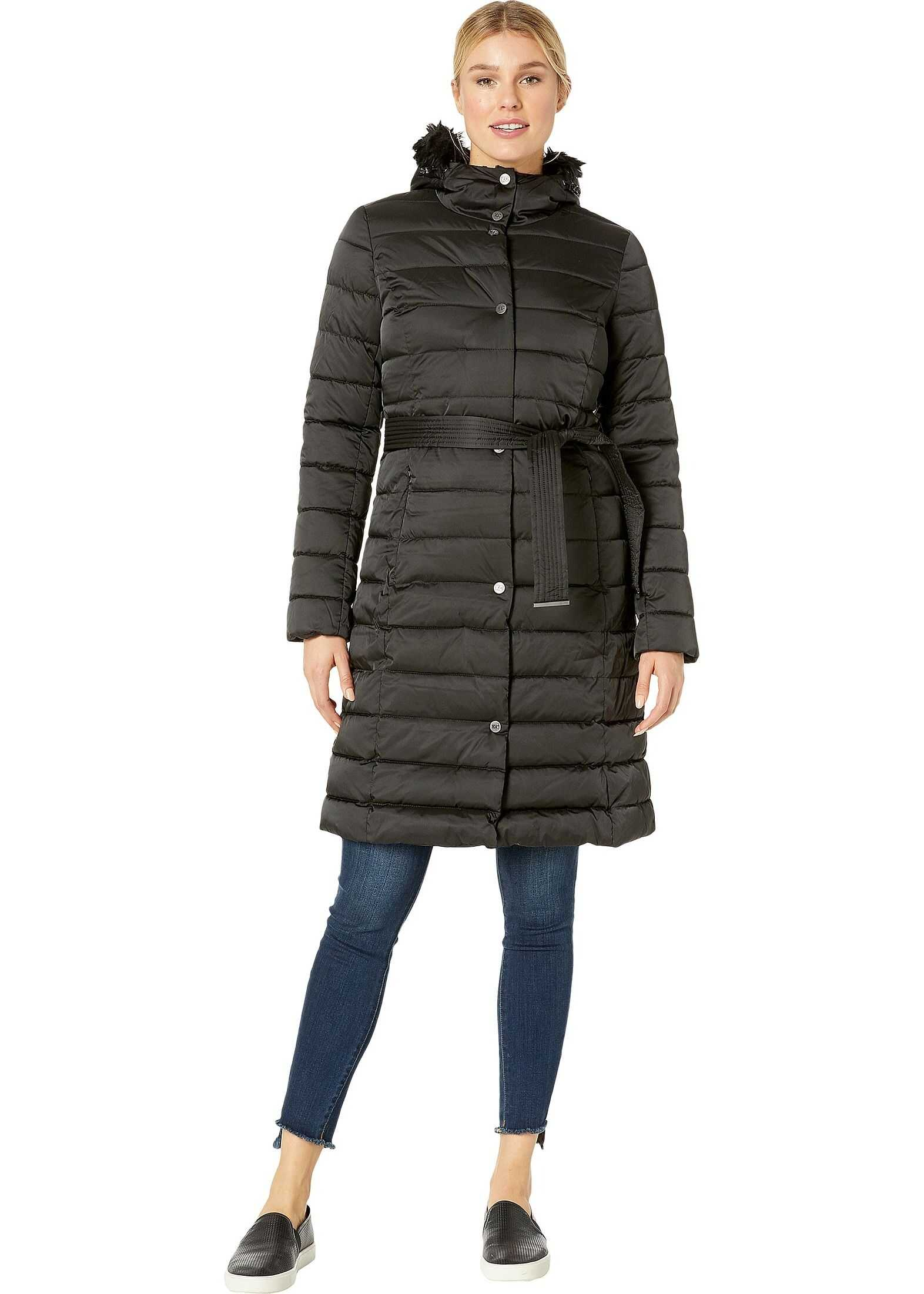 Kenneth Cole New York Matte Satin Belted Puffer w/ Faux Fur Trim Black 1