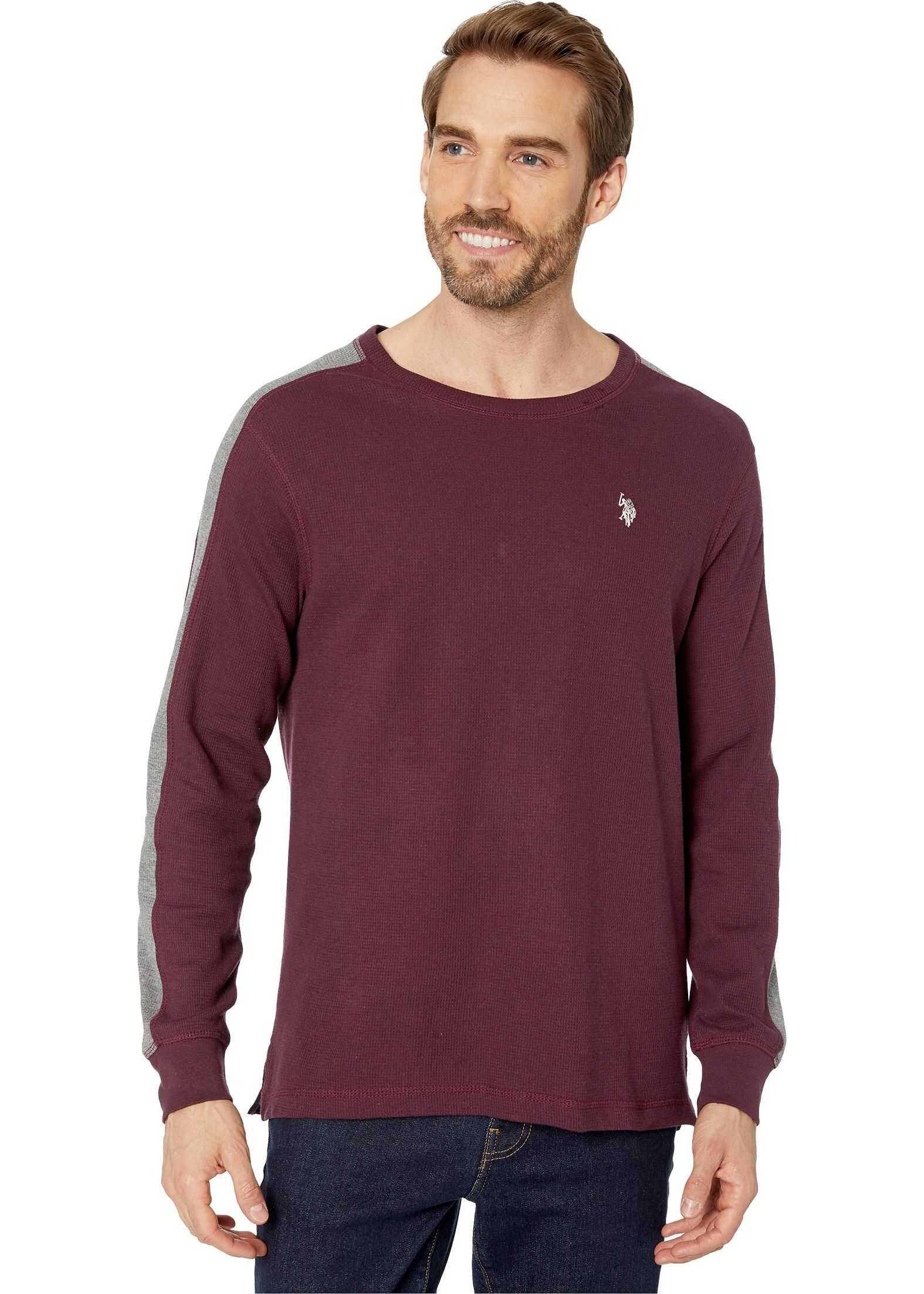 U.S. POLO ASSN. Arm Color Block Thermal Crew Port Wine