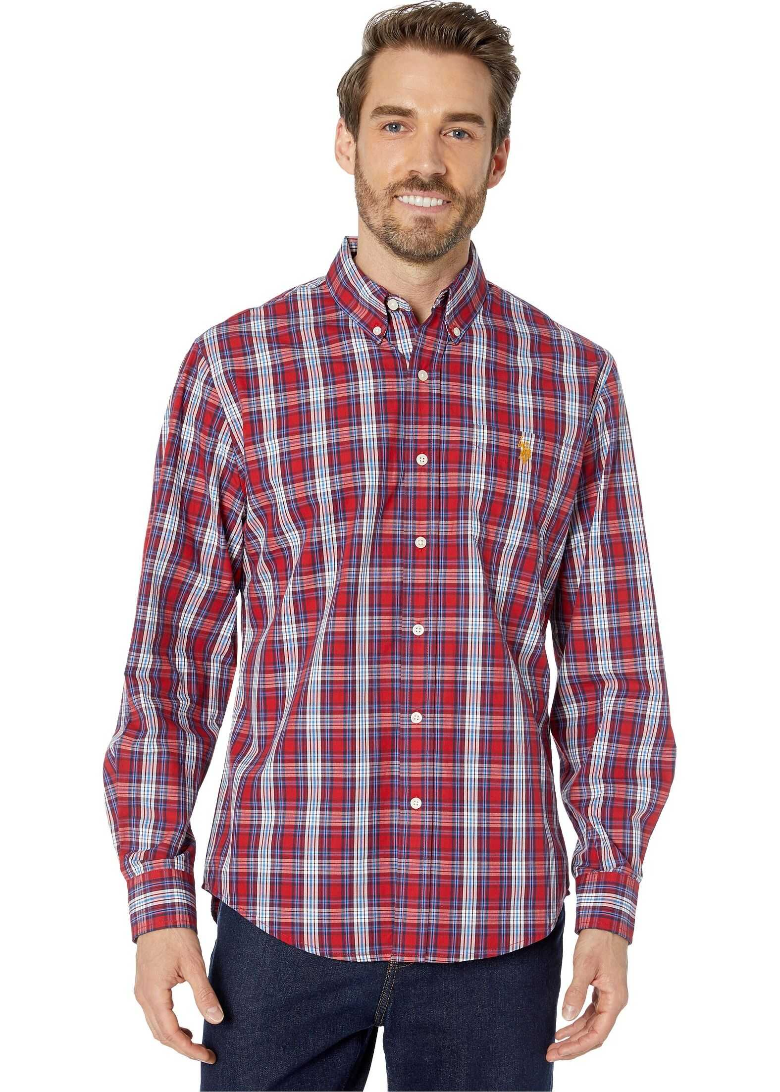 U.S. POLO ASSN. Long Sleeve Classic Fit Plaid Woven Barn Red