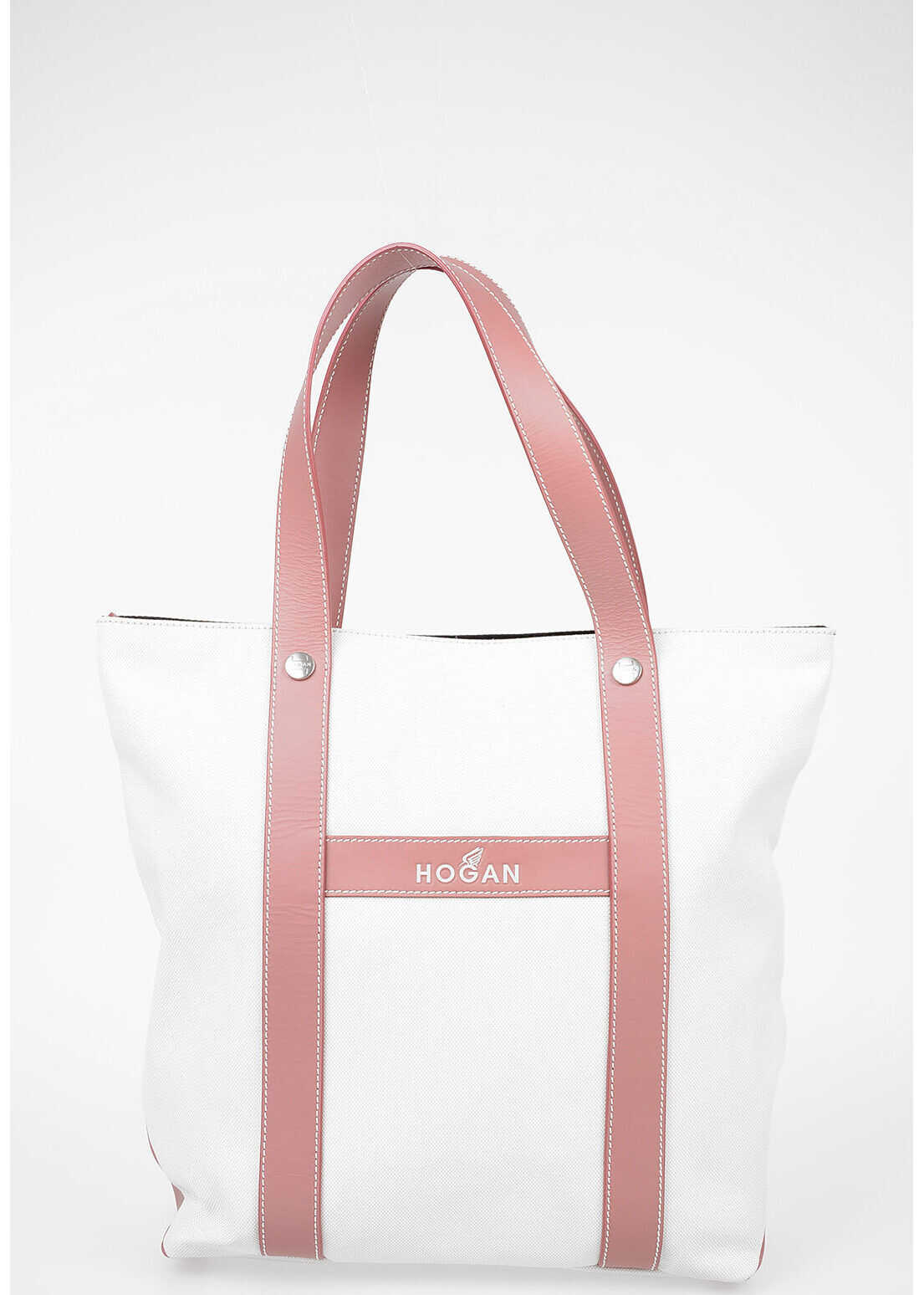 Hogan Leather and Fabric Tote Bag WHITE