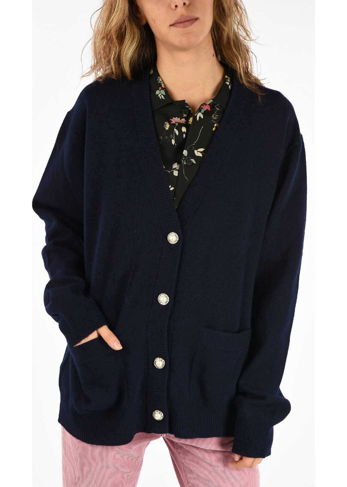 Miu Miu virgin Wool Cardigan MIDNIGHT BLUE