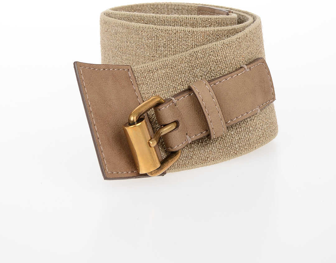 adidas by Stella McCartney 60mm Fabric Elasict Belt BROWN