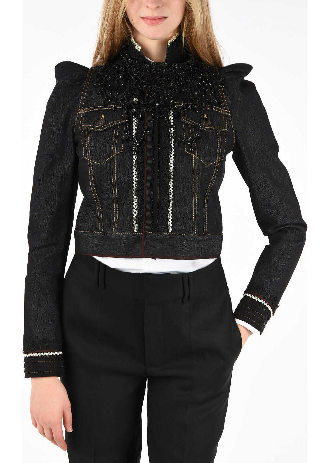 DSQUARED2 Embroidered Denim Jacket MIDNIGHT BLUE