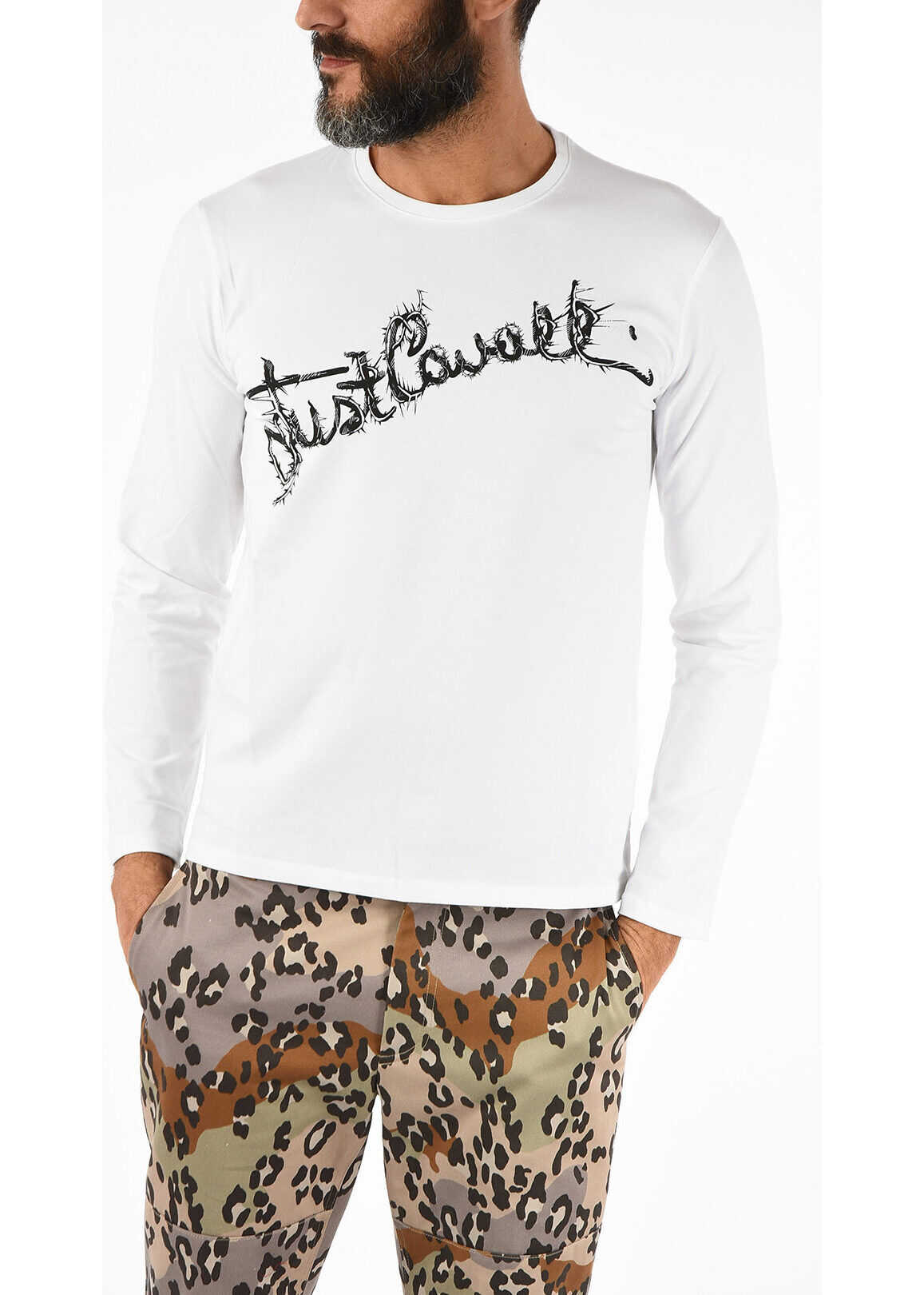 Just Cavalli Long Sleeve T-shirt with Print WHITE