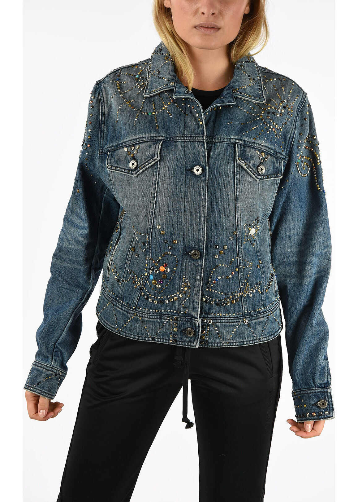 Just Cavalli Denim Studs Jacket BLUE