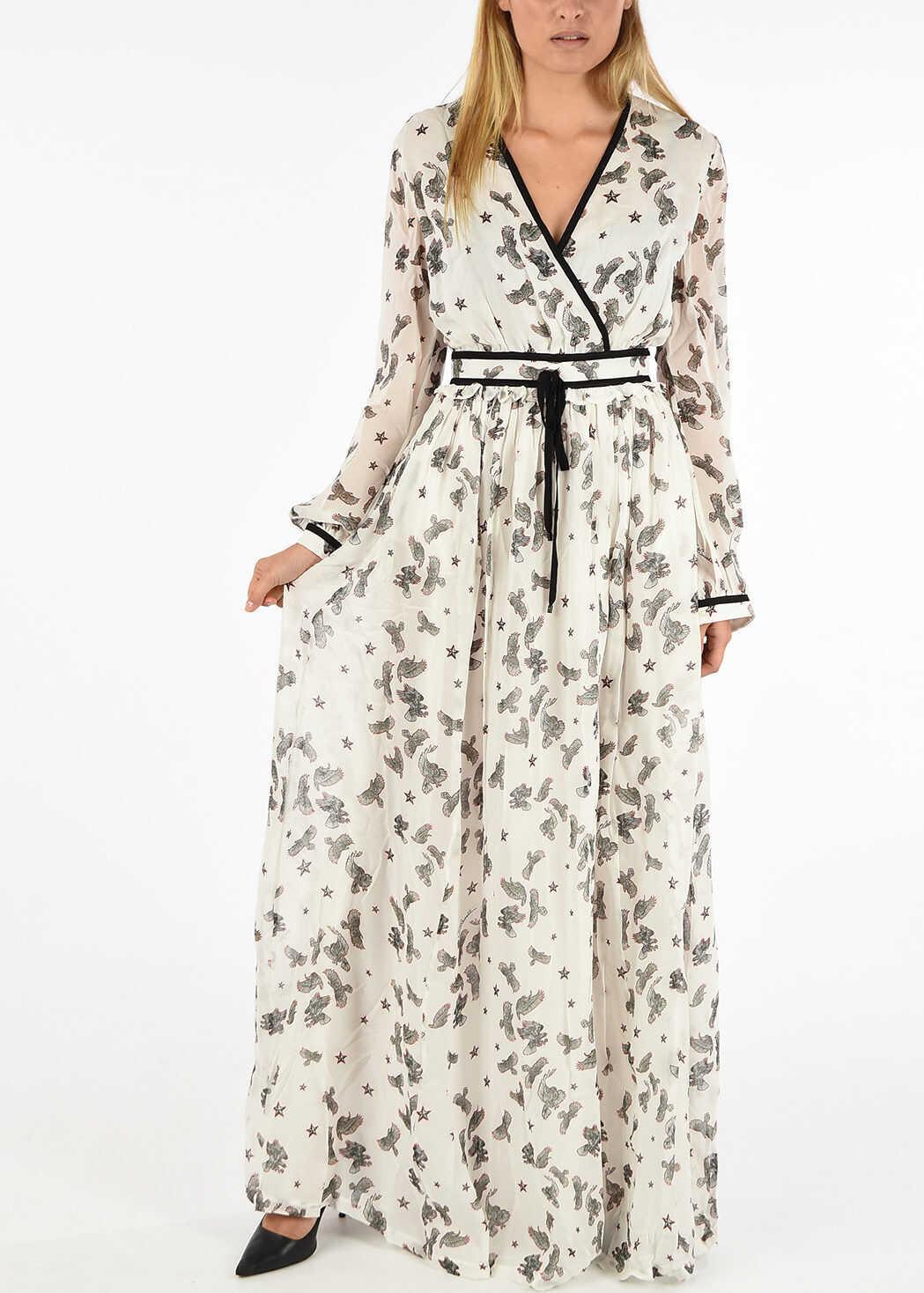 Just Cavalli Printed Long Sleeve Dress WHITE