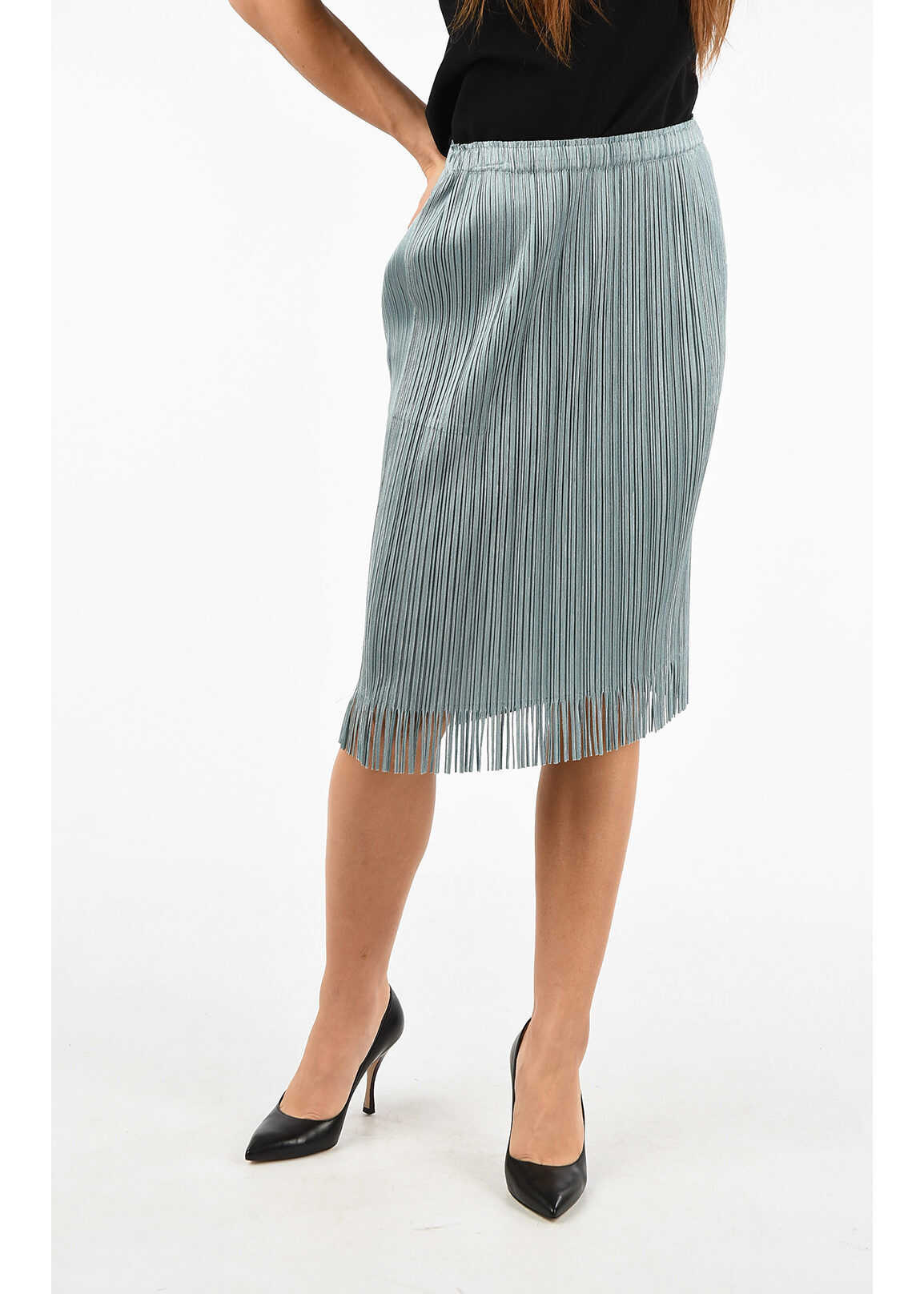 Issey Miyake PLEATS PLEASE Chambray Longuette with Fringe LIGHT BLUE
