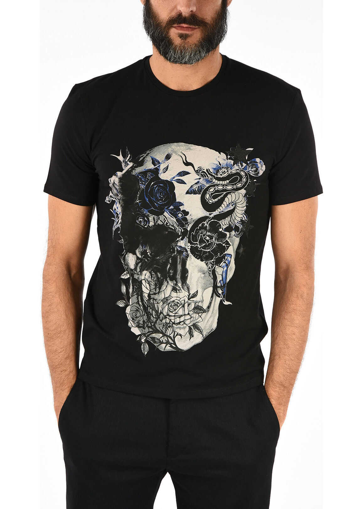 Just Cavalli Printed Round Neck T-shirt BLACK