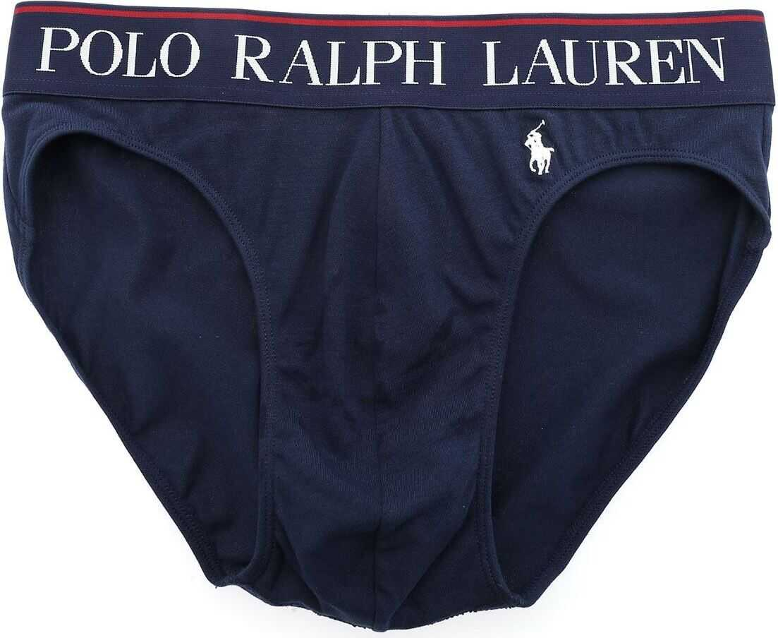 Logo Embroidery Briefs In Blue thumbnail
