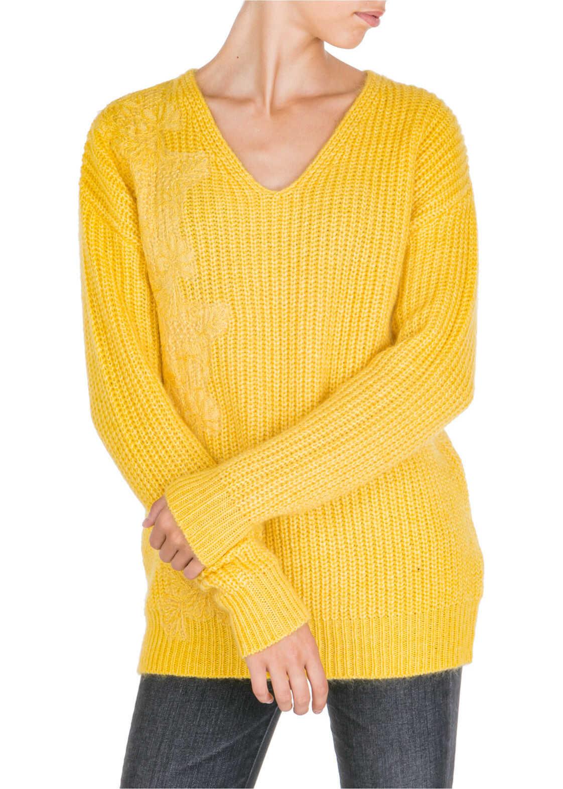 Ermanno di Ermanno Scervino Jumper Sweater V-Neck Yellow