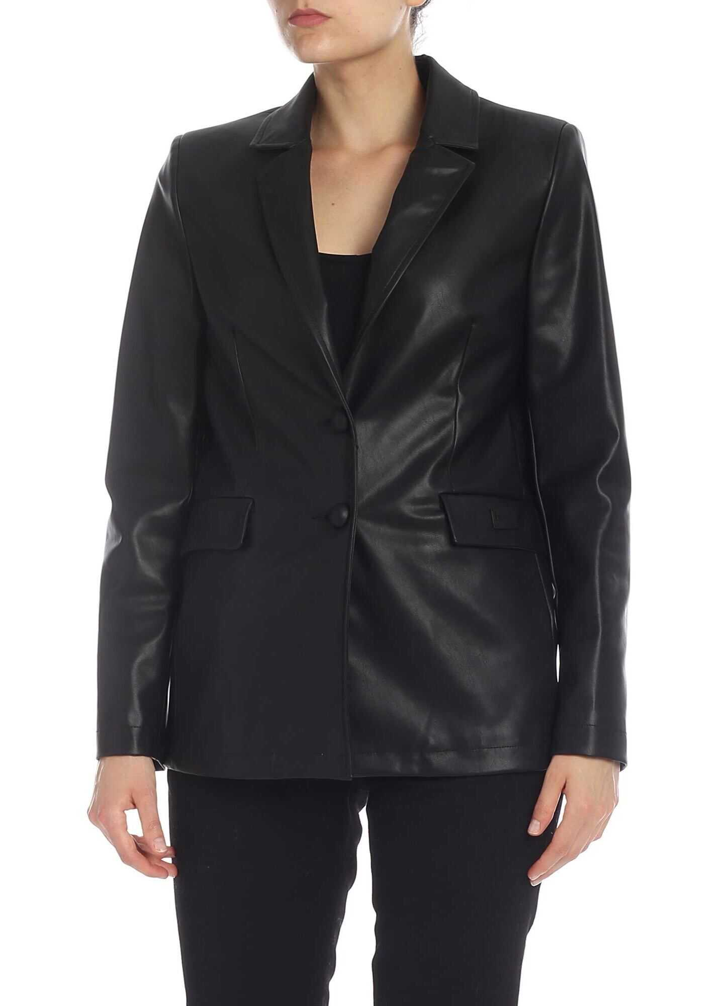 Eco Leather Blazer In Black thumbnail