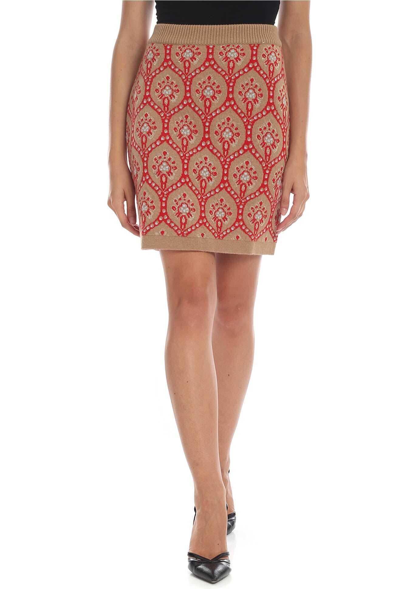 Be Blumarine Dark Beige Knitted Miniskirt With Intarsia Beige