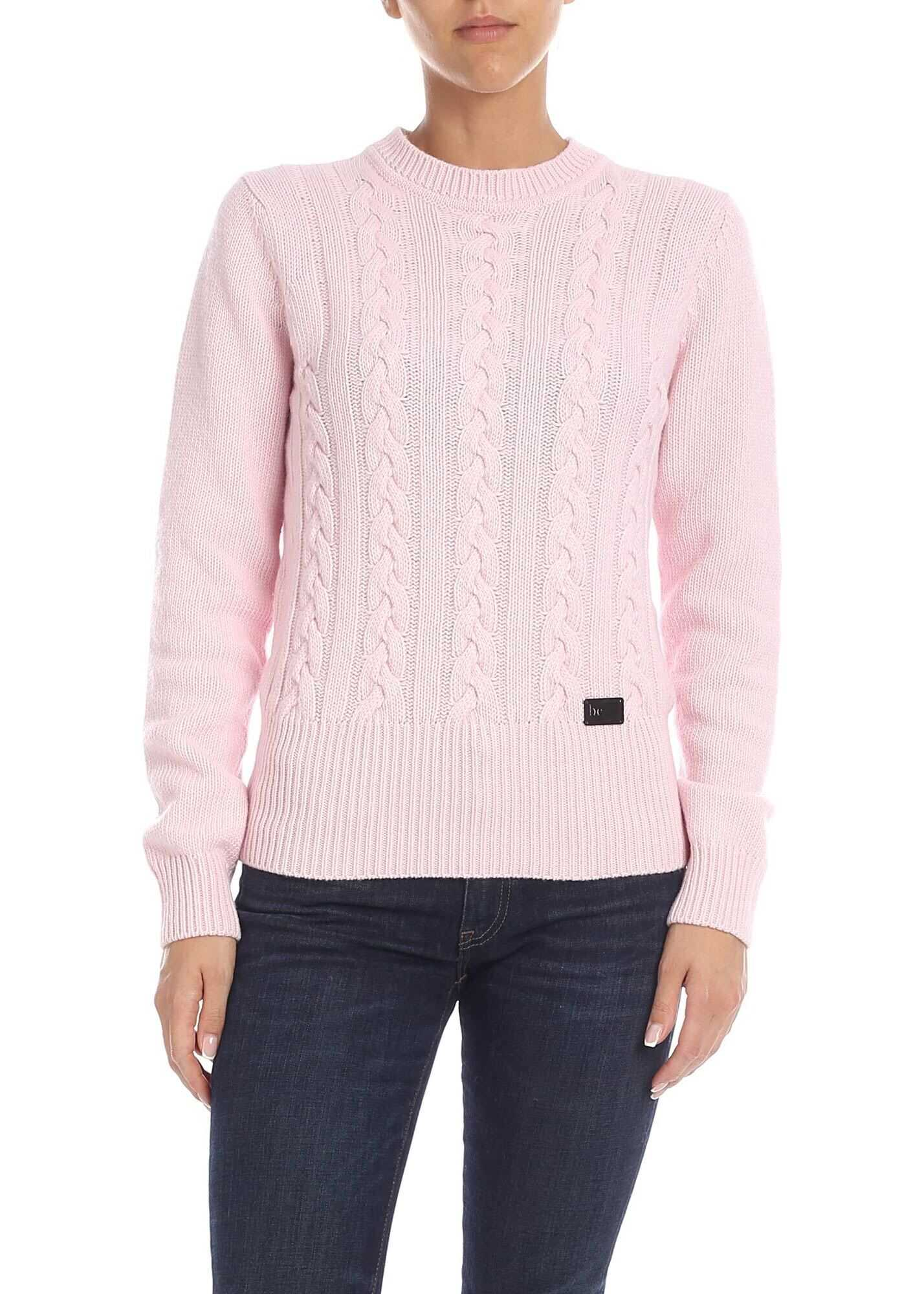 Be Blumarine Pink Pullover With Logo Detail Pink