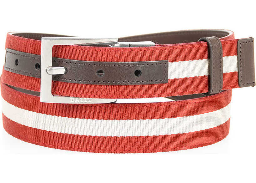 Bally 35mm Fabric and Leather TONNI Belt RED